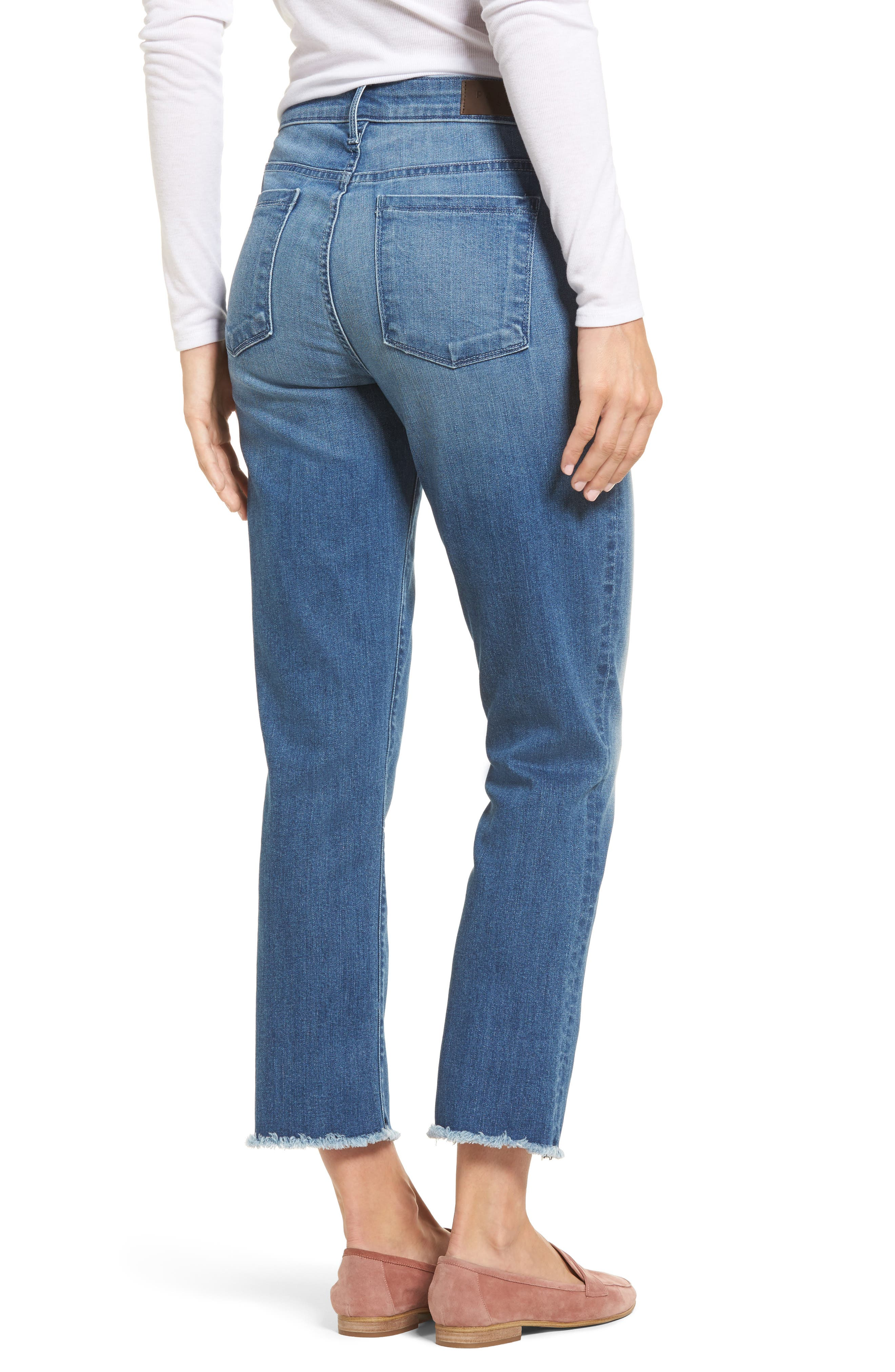 Raw Edge Ankle Straight Jeans,                             Alternate thumbnail 2, color,                             402
