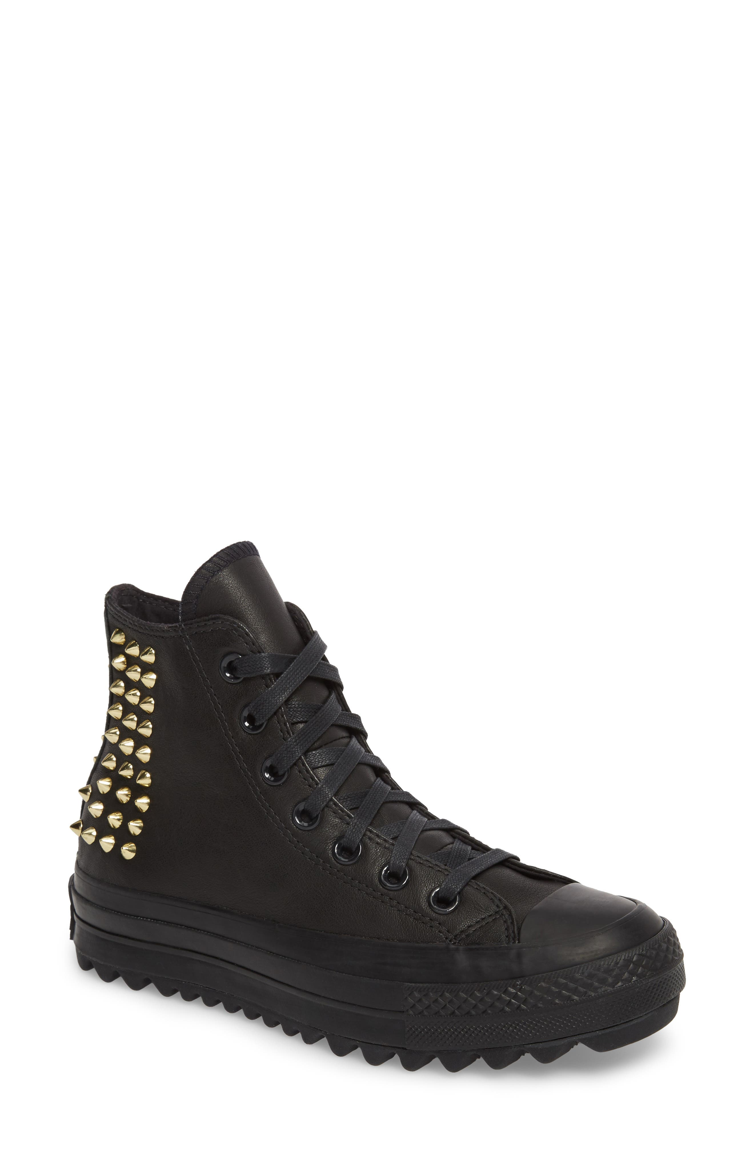 Chuck Taylor<sup>®</sup> All Star<sup>®</sup> Lift Ripple Studded High Top Sneaker,                         Main,                         color, 001