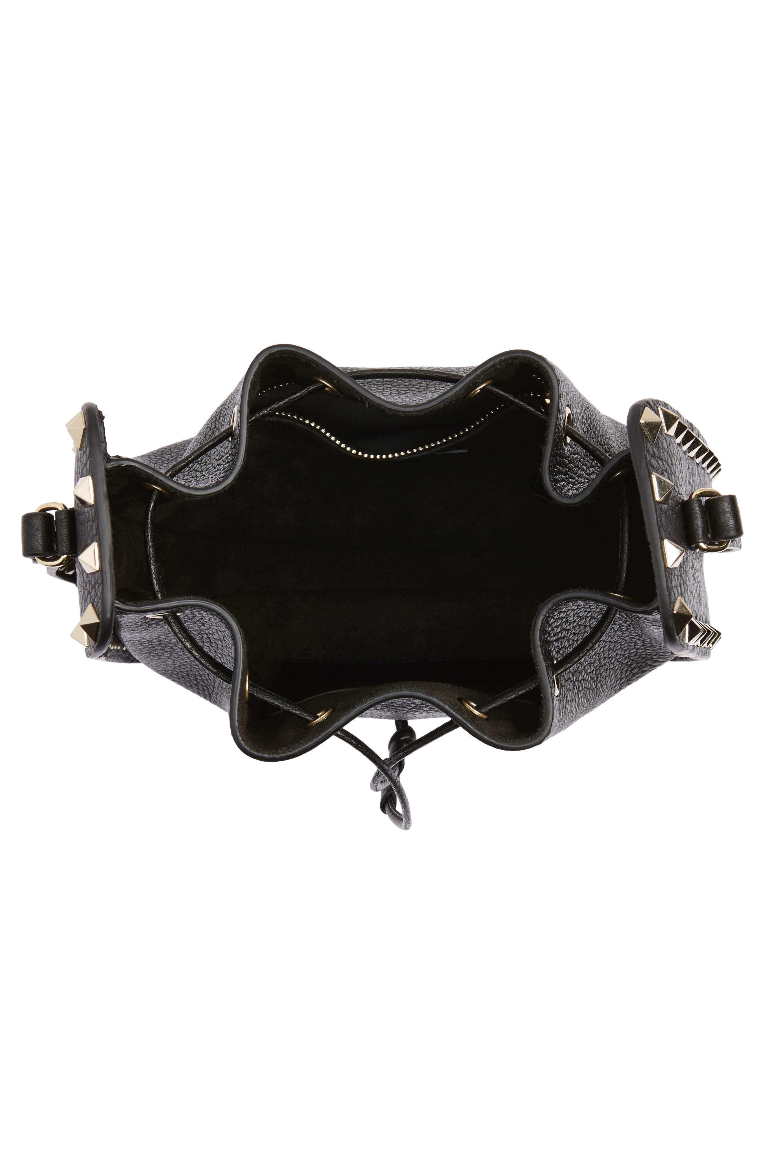 Rockstud Leather Bucket Bag,                             Alternate thumbnail 4, color,                             NERO