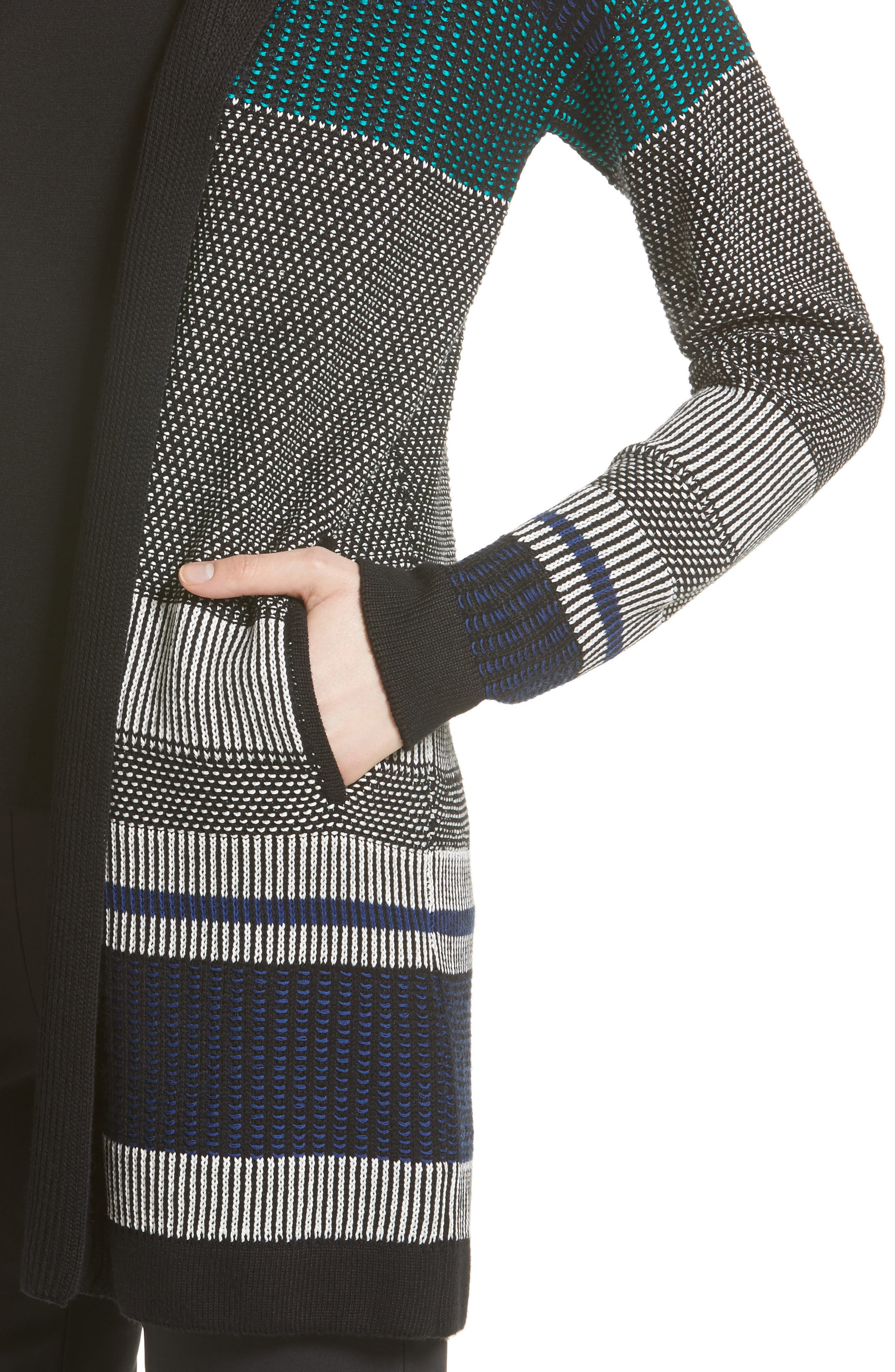 Engineered Inlay Stitch Knit Cardigan,                             Alternate thumbnail 4, color,                             020