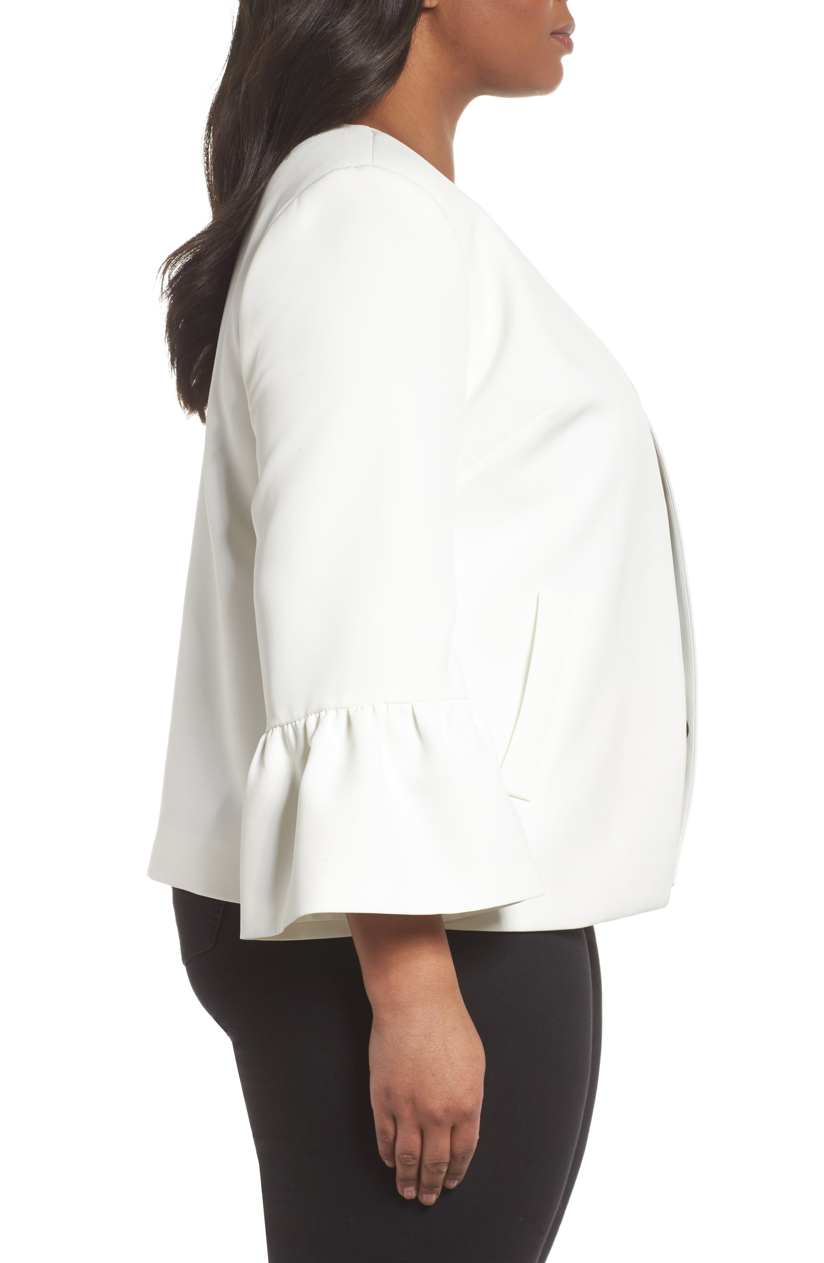 Ruffle Sleeve Jacket,                             Alternate thumbnail 3, color,                             903