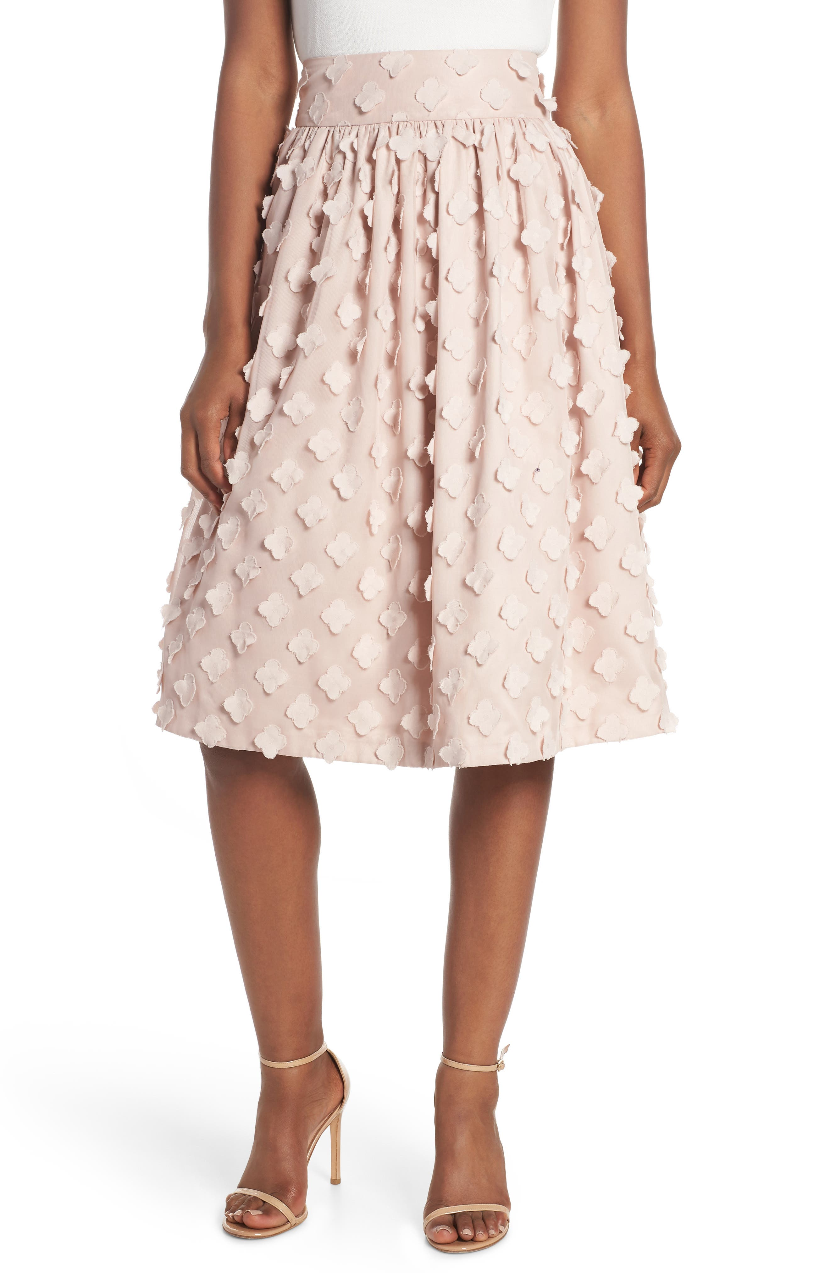 Flower Texture Gathered Skirt,                             Main thumbnail 1, color,                             BLUSH