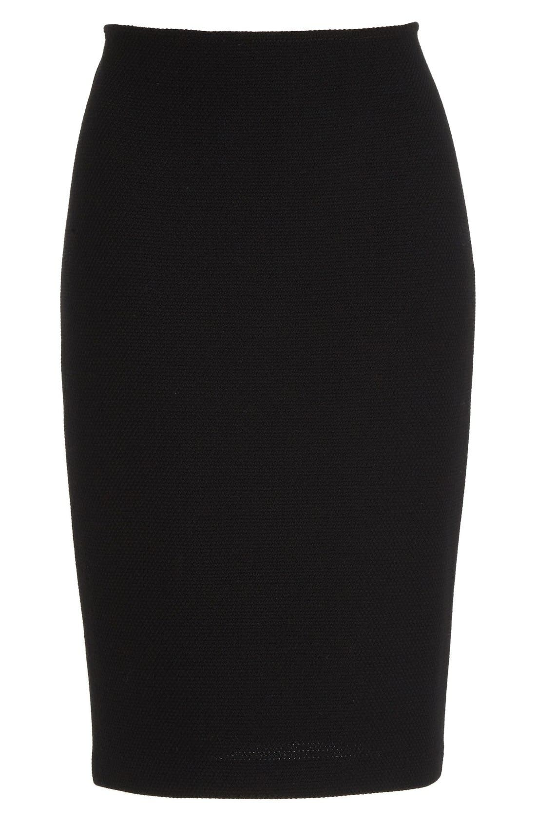 Micro Bouclé Pencil Skirt,                             Alternate thumbnail 6, color,                             CAVIAR
