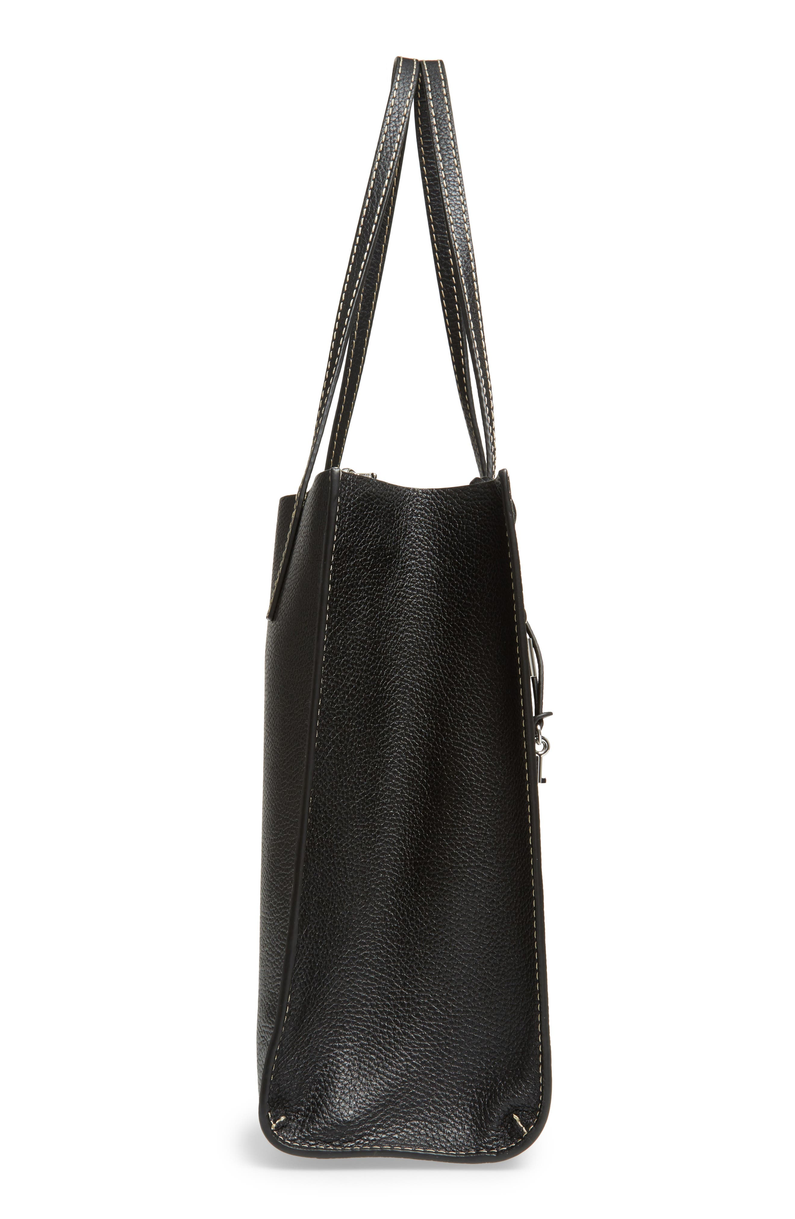 The Grind East/West Leather Shopper,                             Alternate thumbnail 5, color,                             BLACK