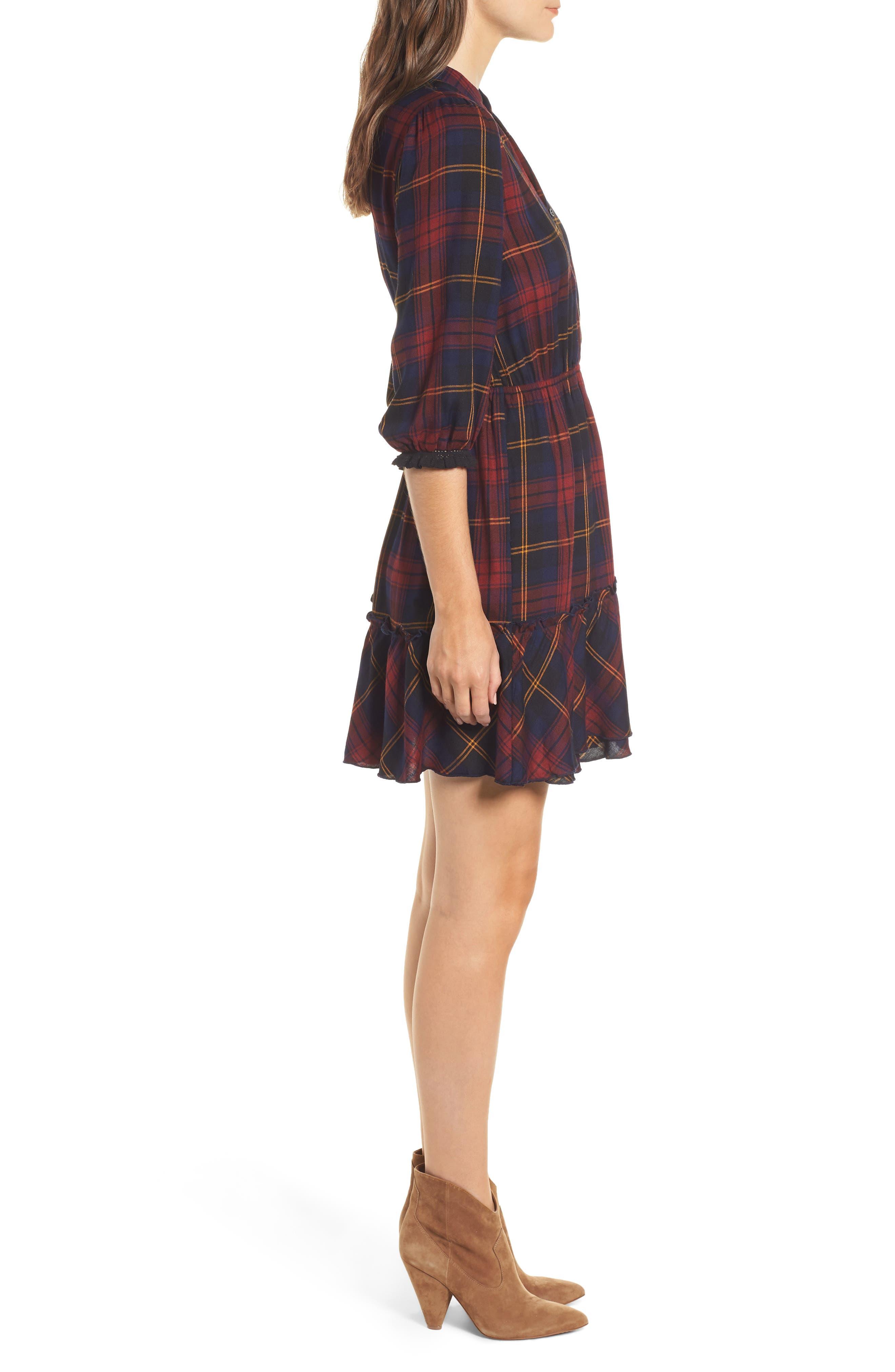 Plaid Ruffle Hem Dress,                             Alternate thumbnail 3, color,                             400