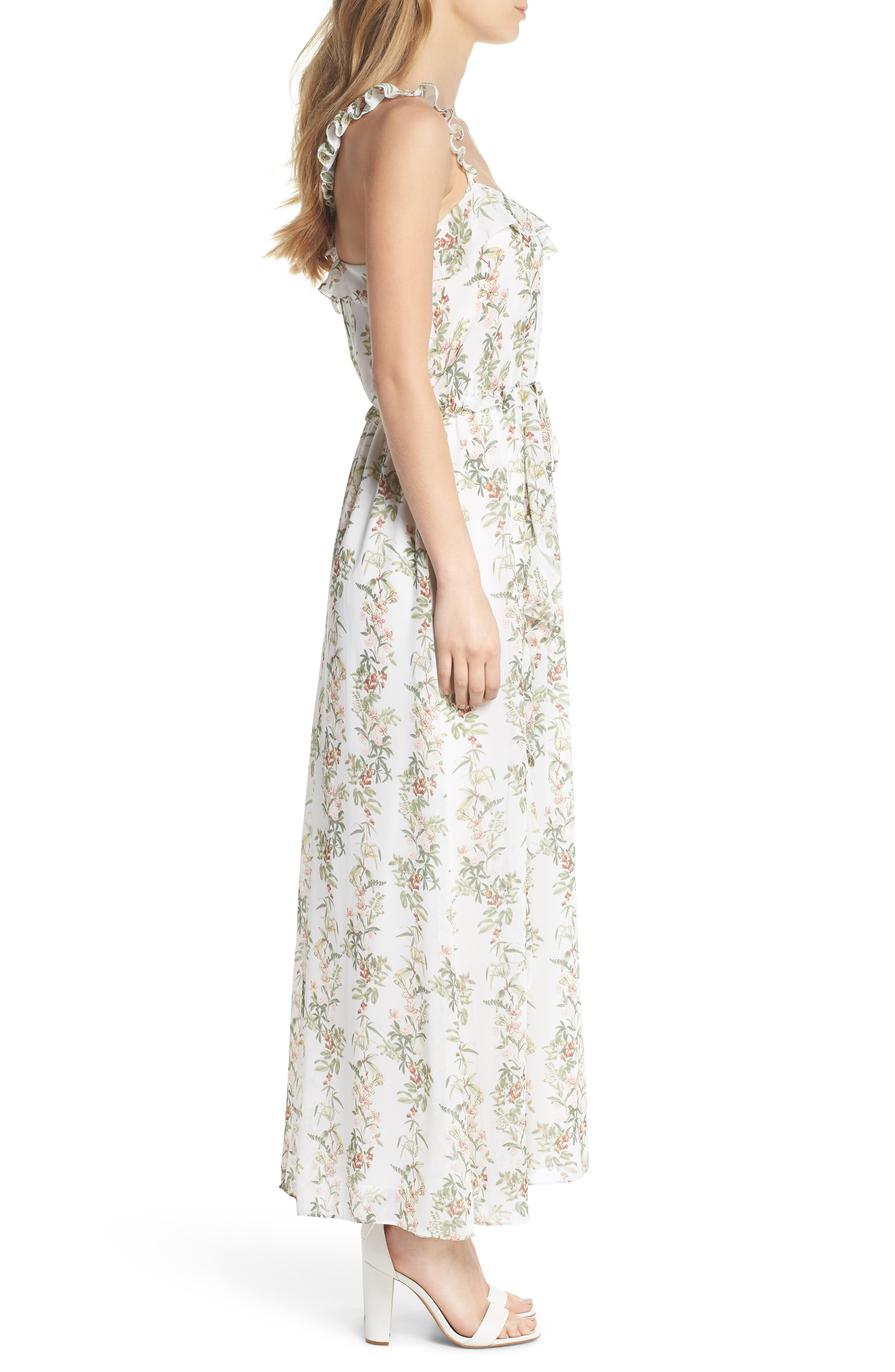 Isabella Floral Stripe Cross Back Maxi Dress,                             Alternate thumbnail 3, color,                             900