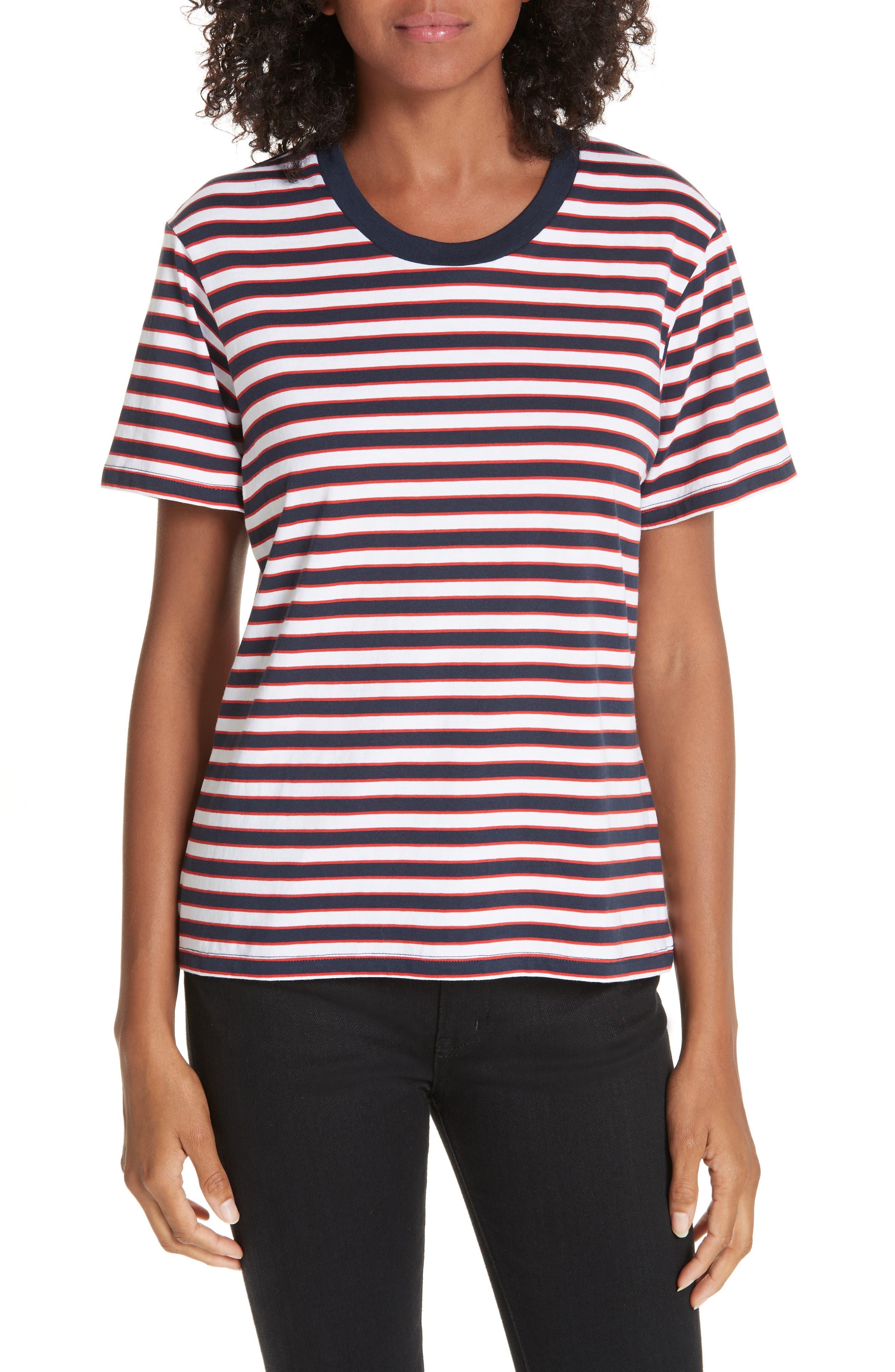 LA LIGNE Seberg Tee in White/ Navy / Red Stripe