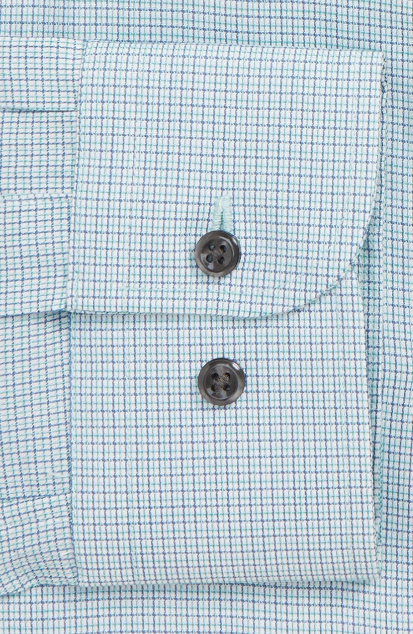 Trim Fit Check Dress Shirt,                             Alternate thumbnail 6, color,                             GREEN GOLF