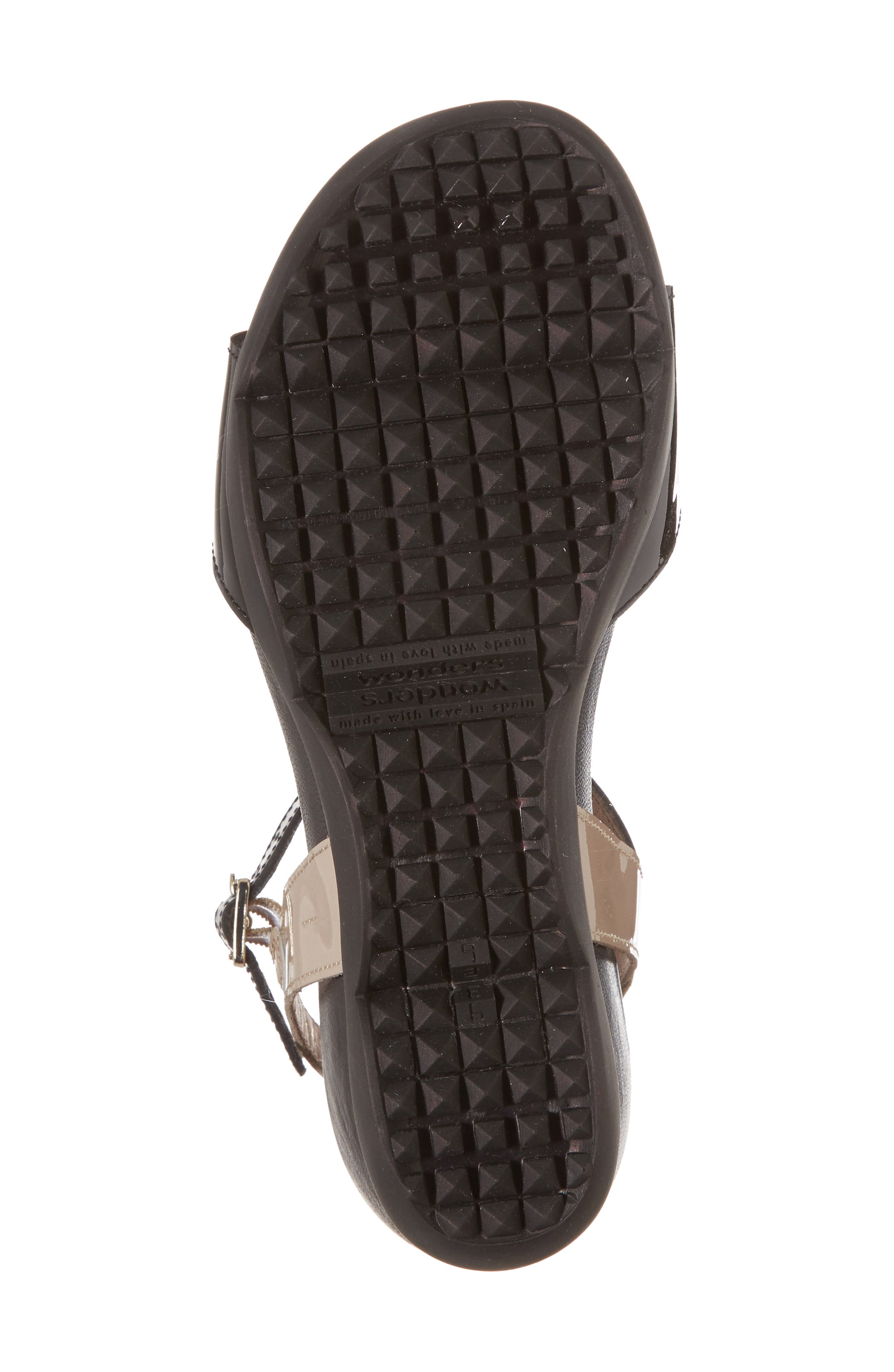 Wedge Sandal,                             Alternate thumbnail 6, color,                             BLACK/ TAUPE LEATHER