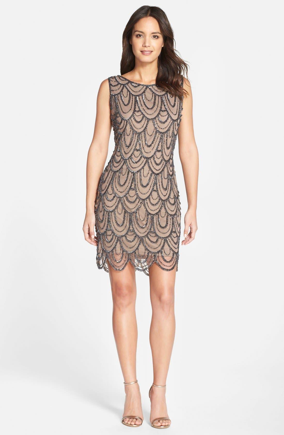 Embellished Mesh Sheath Dress,                             Alternate thumbnail 101, color,