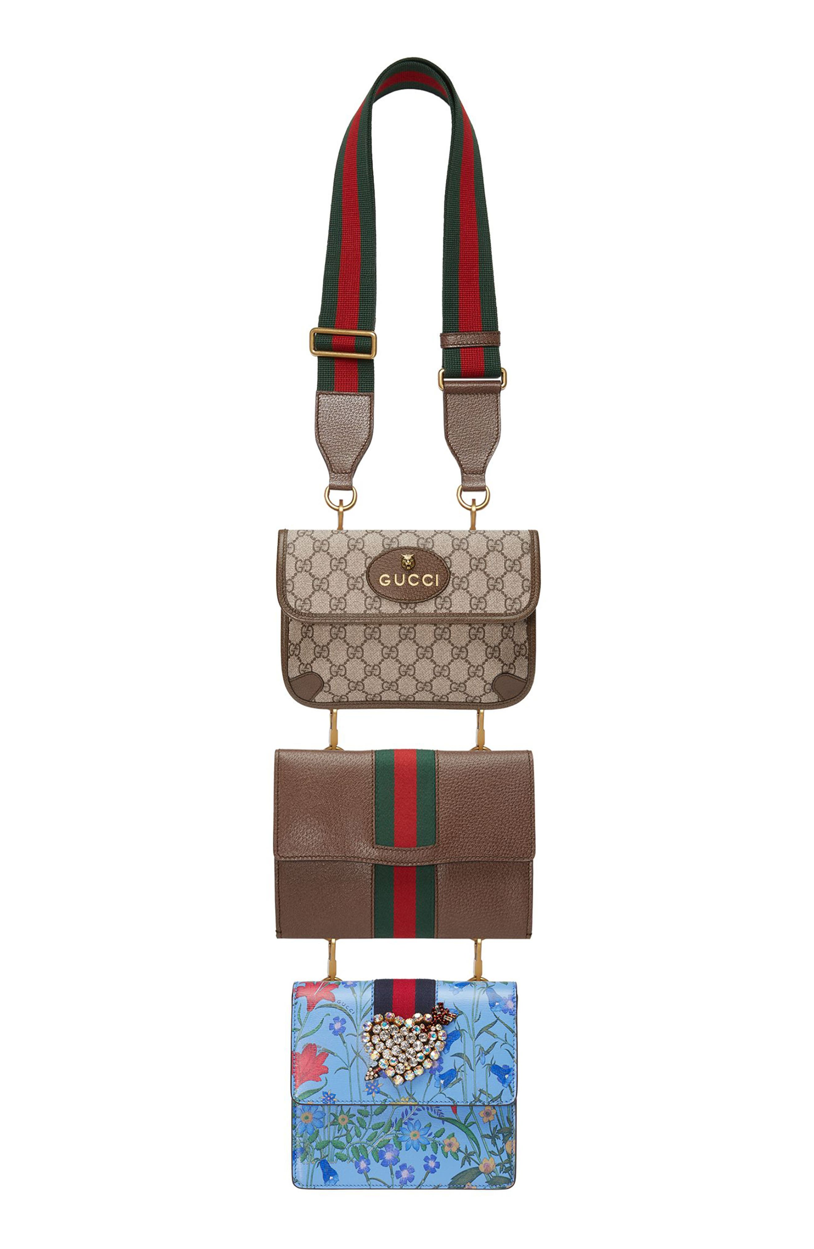 Totem Four-in-One Leather & Canvas Shoulder Bag,                             Alternate thumbnail 3, color,                             BROWN/ RED/ BLUE