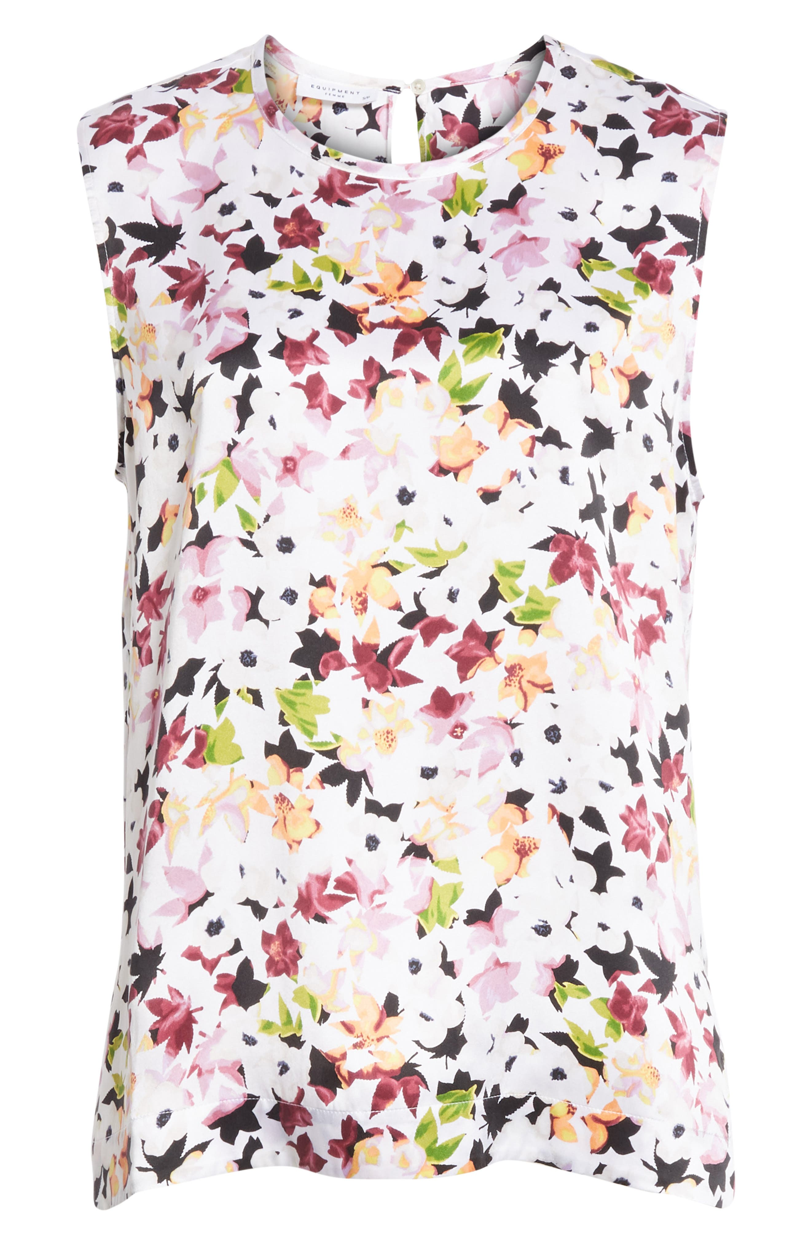 Layla Floral Silk Top,                             Alternate thumbnail 6, color,                             118
