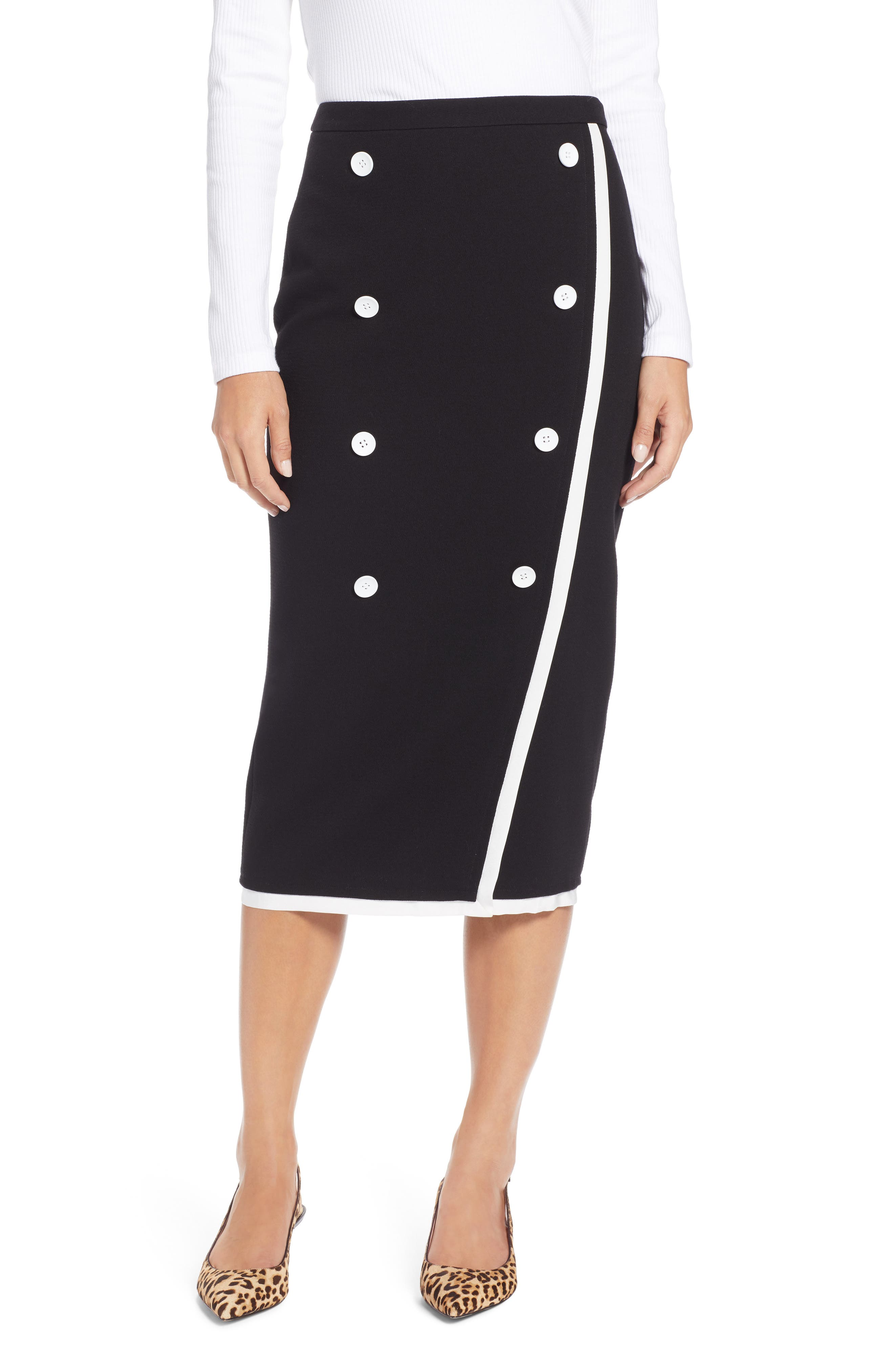 Button Detail Pencil Skirt,                             Main thumbnail 1, color,                             001