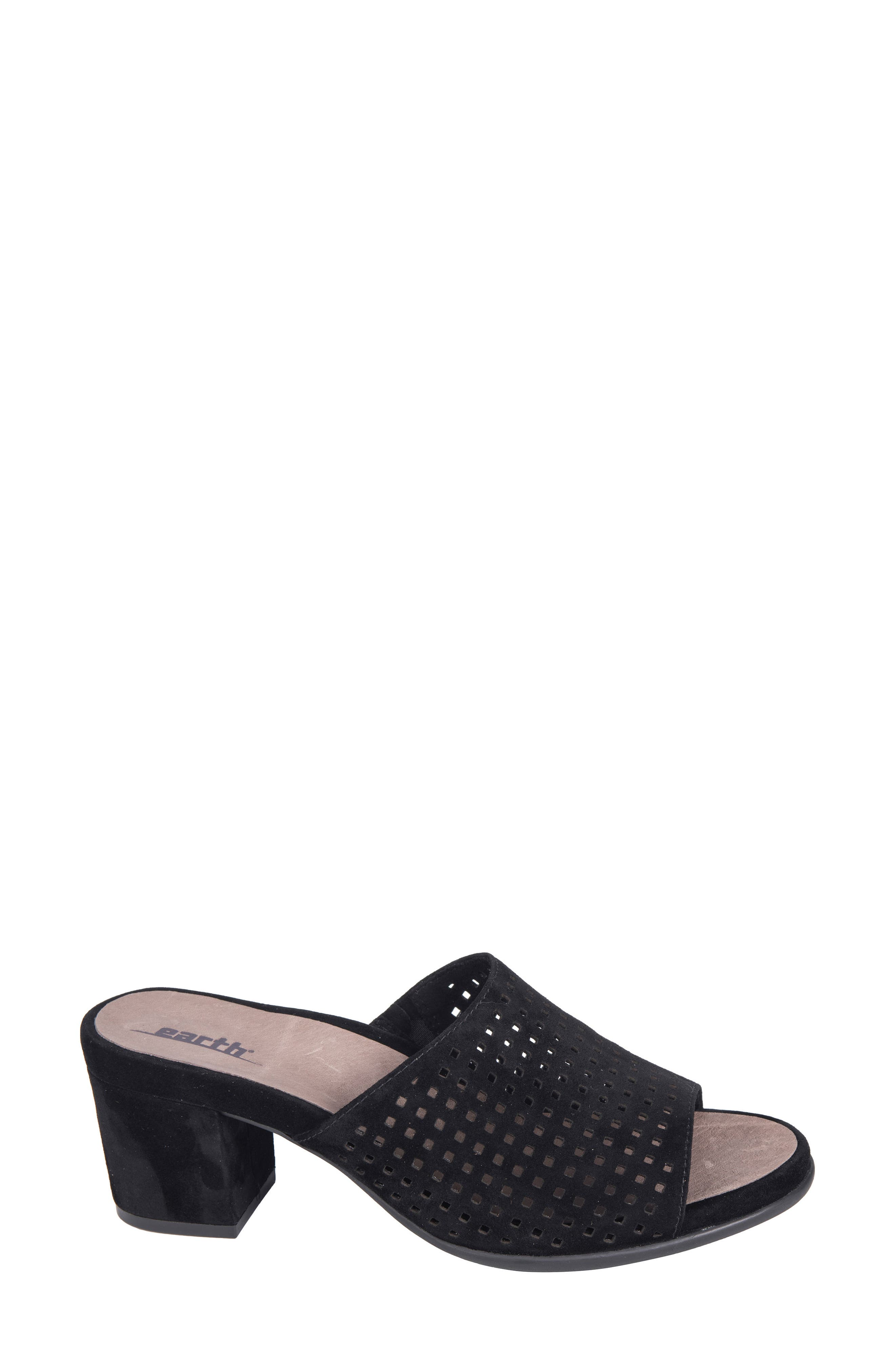 Ibiza Perforated Sandal,                             Alternate thumbnail 3, color,                             BLACK SUEDE