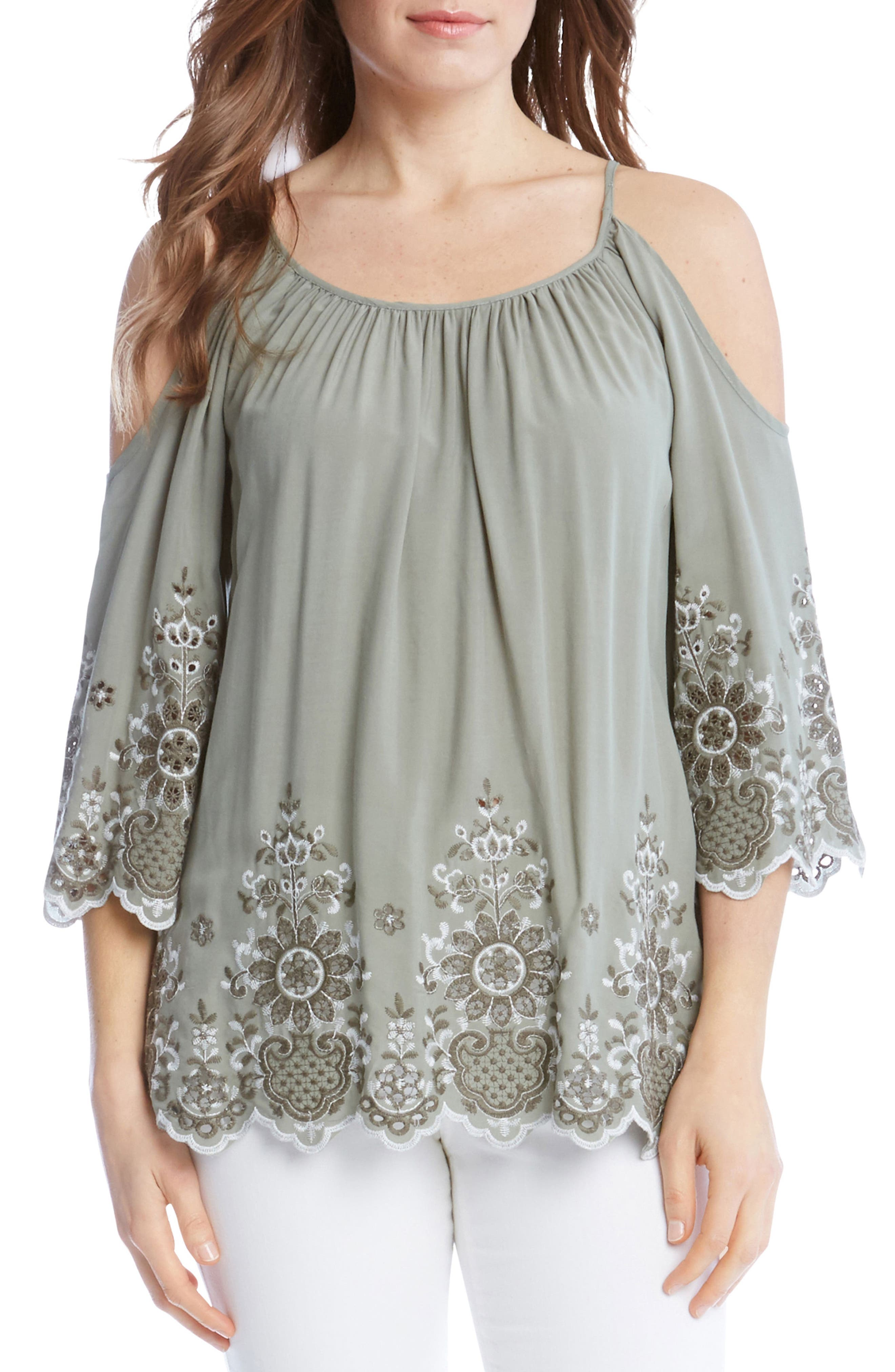 Embroidered Cold Shoulder Top,                         Main,                         color, 330