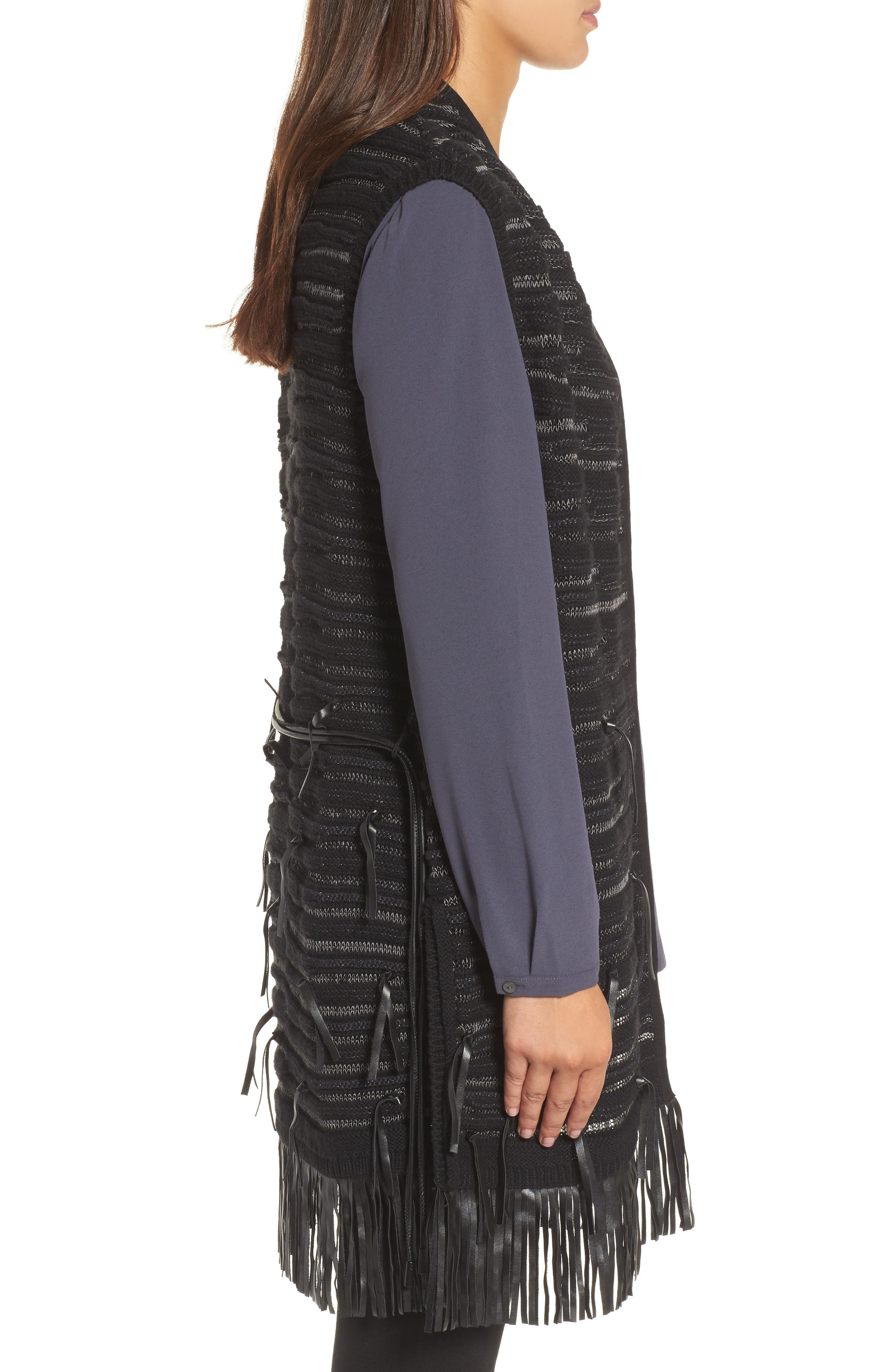 Fuse Faux Leather Fringe Vest,                             Alternate thumbnail 3, color,                             004