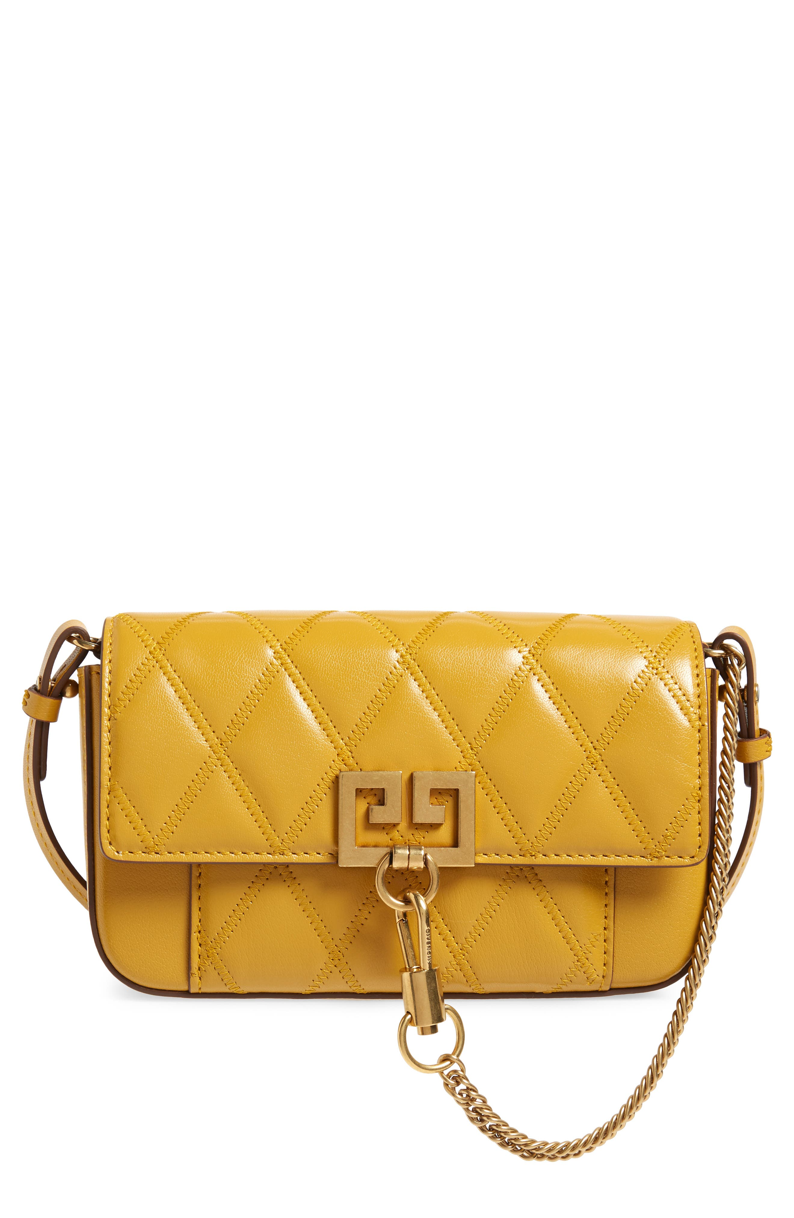 Mini Pocket Quilted Convertible Leather Bag,                         Main,                         color, GOLDEN