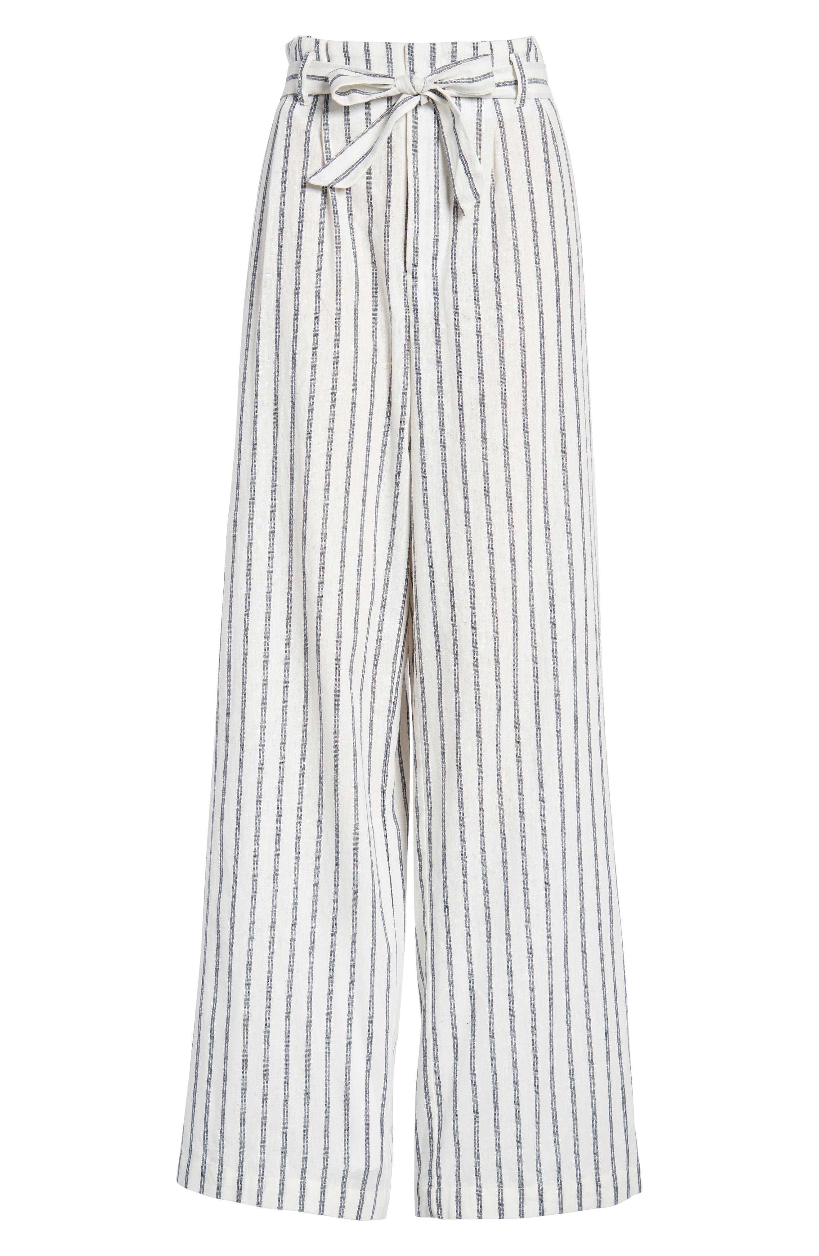 Paper Bag Linen & Cotton Pants,                             Alternate thumbnail 7, color,                             IVORY / BLUE STRIPE