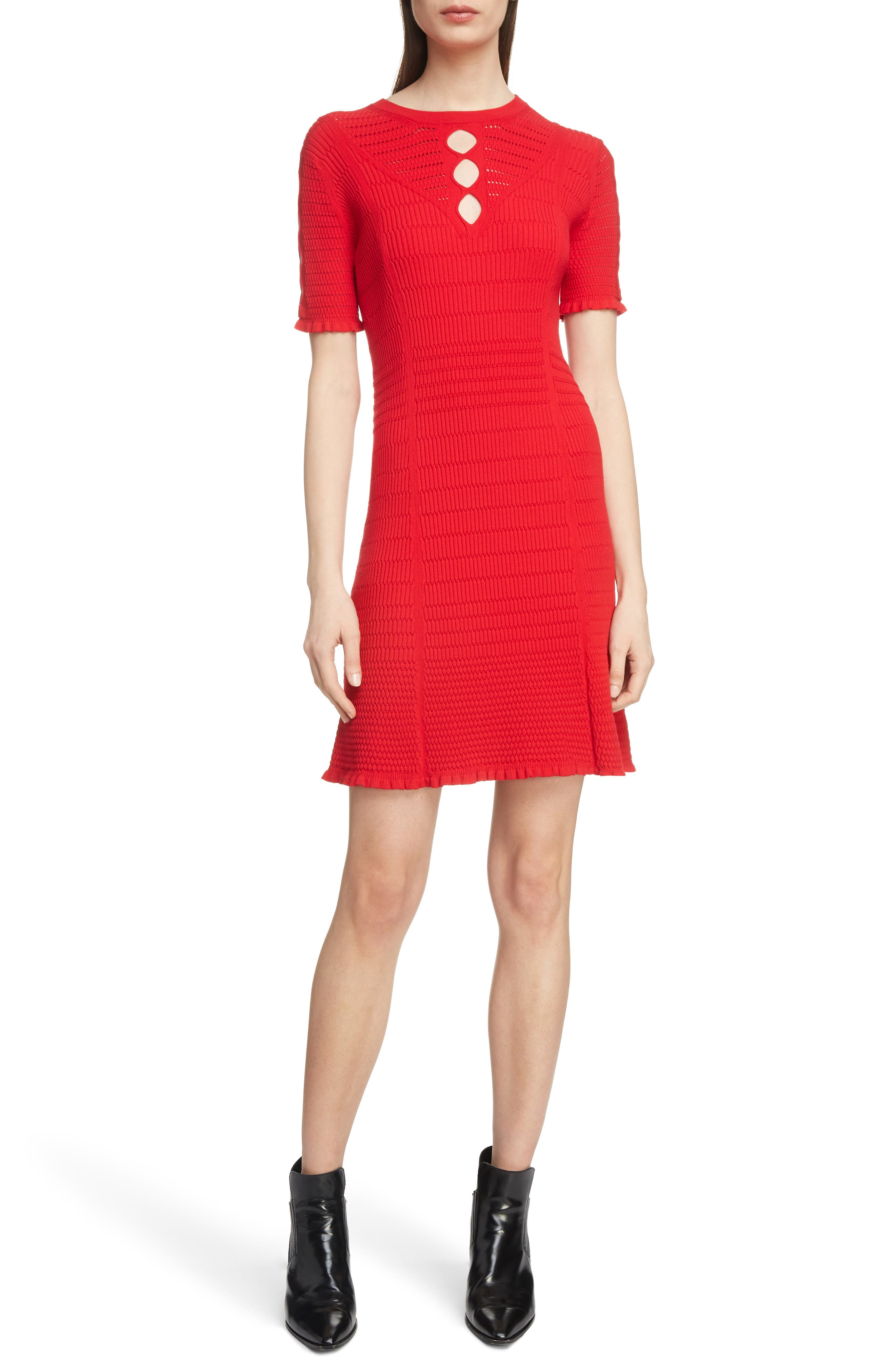 Textured Knit Dress,                             Main thumbnail 1, color,                             RED