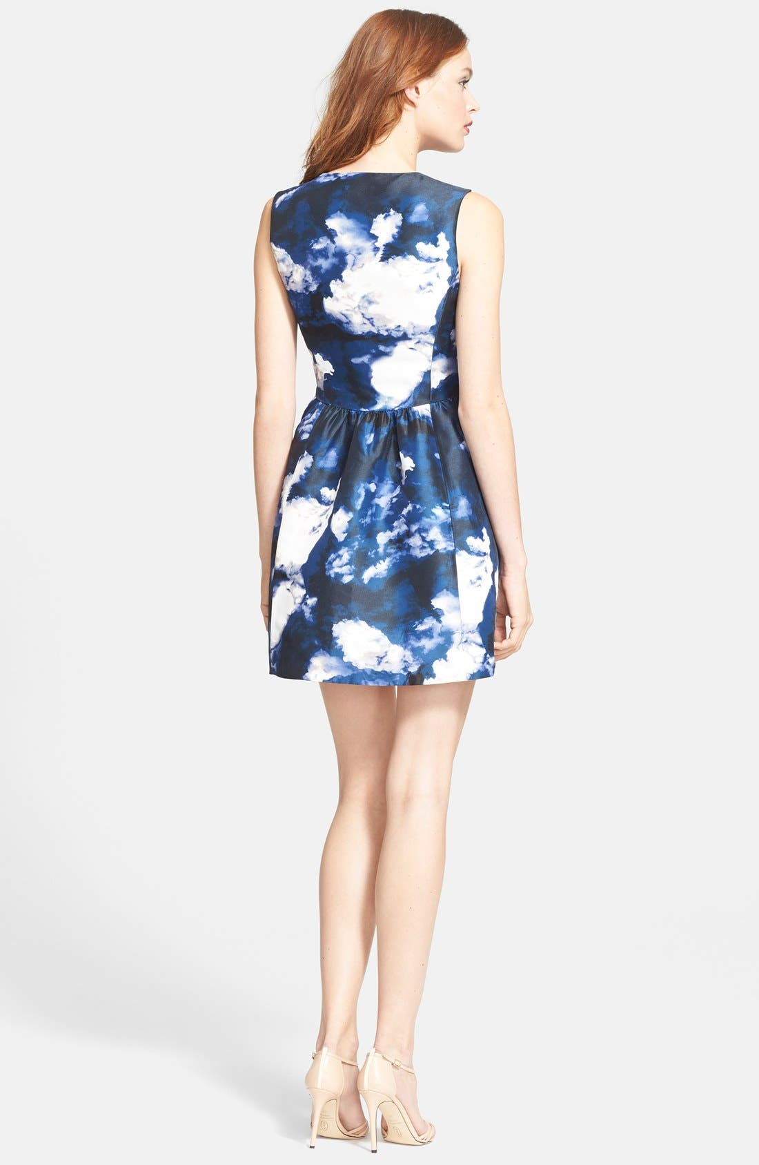 'joss' print fit & flare dress,                             Alternate thumbnail 2, color,                             402