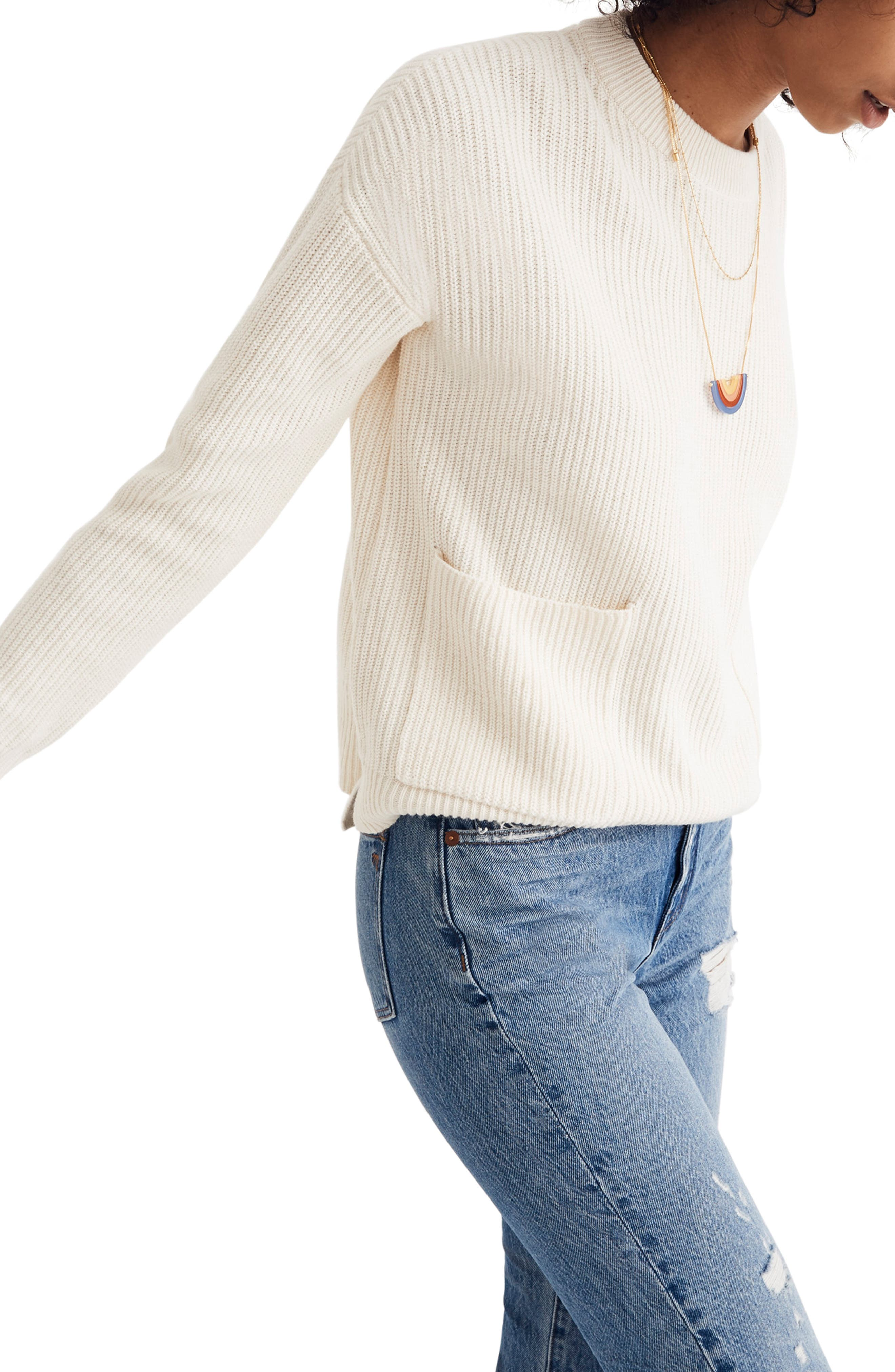 Patch Pocket Pullover Sweater,                             Alternate thumbnail 4, color,                             BRIGHT IVORY