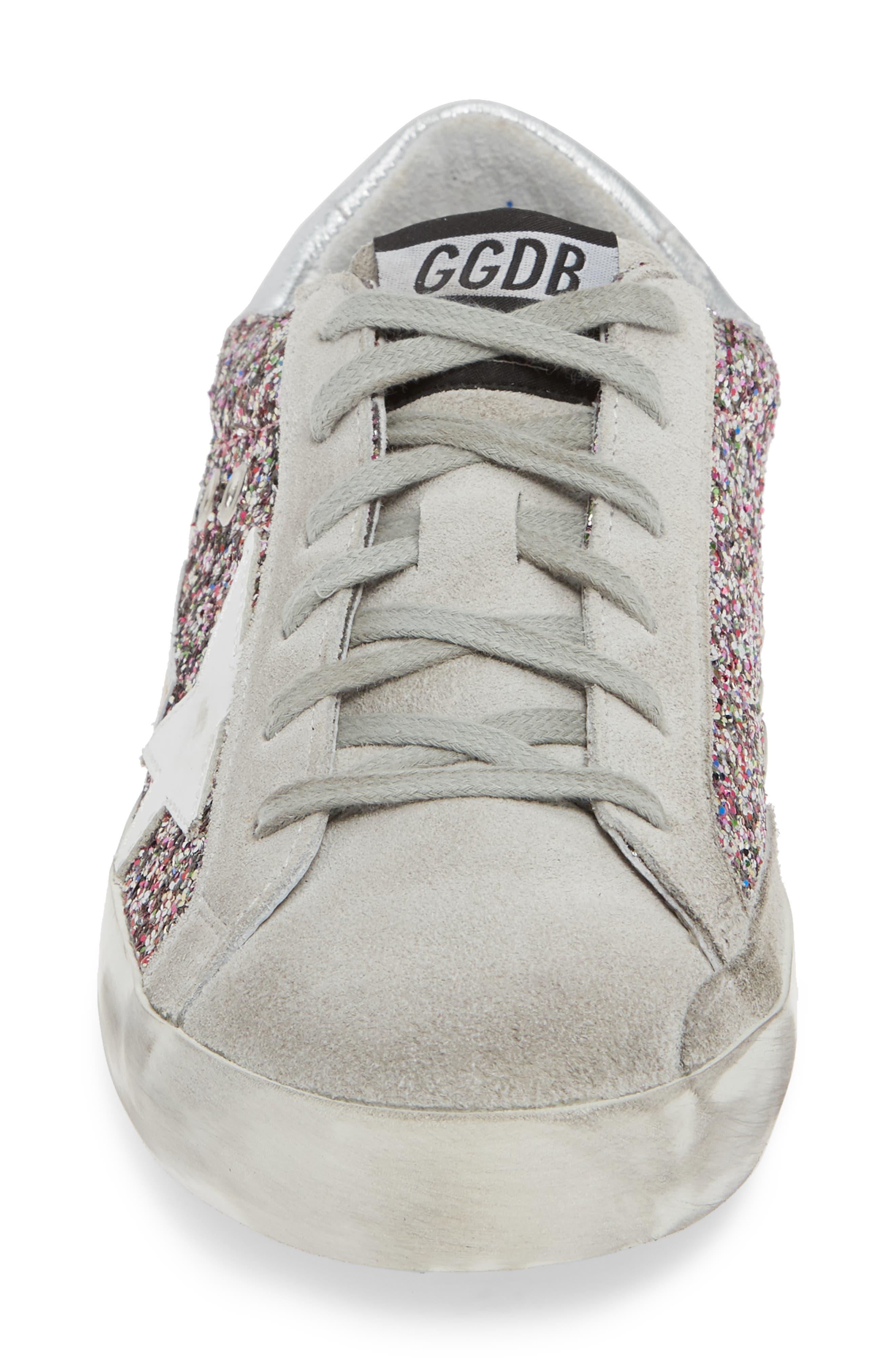 Superstar Glitter Sneaker,                             Alternate thumbnail 4, color,                             PINK MULTI/ GREY