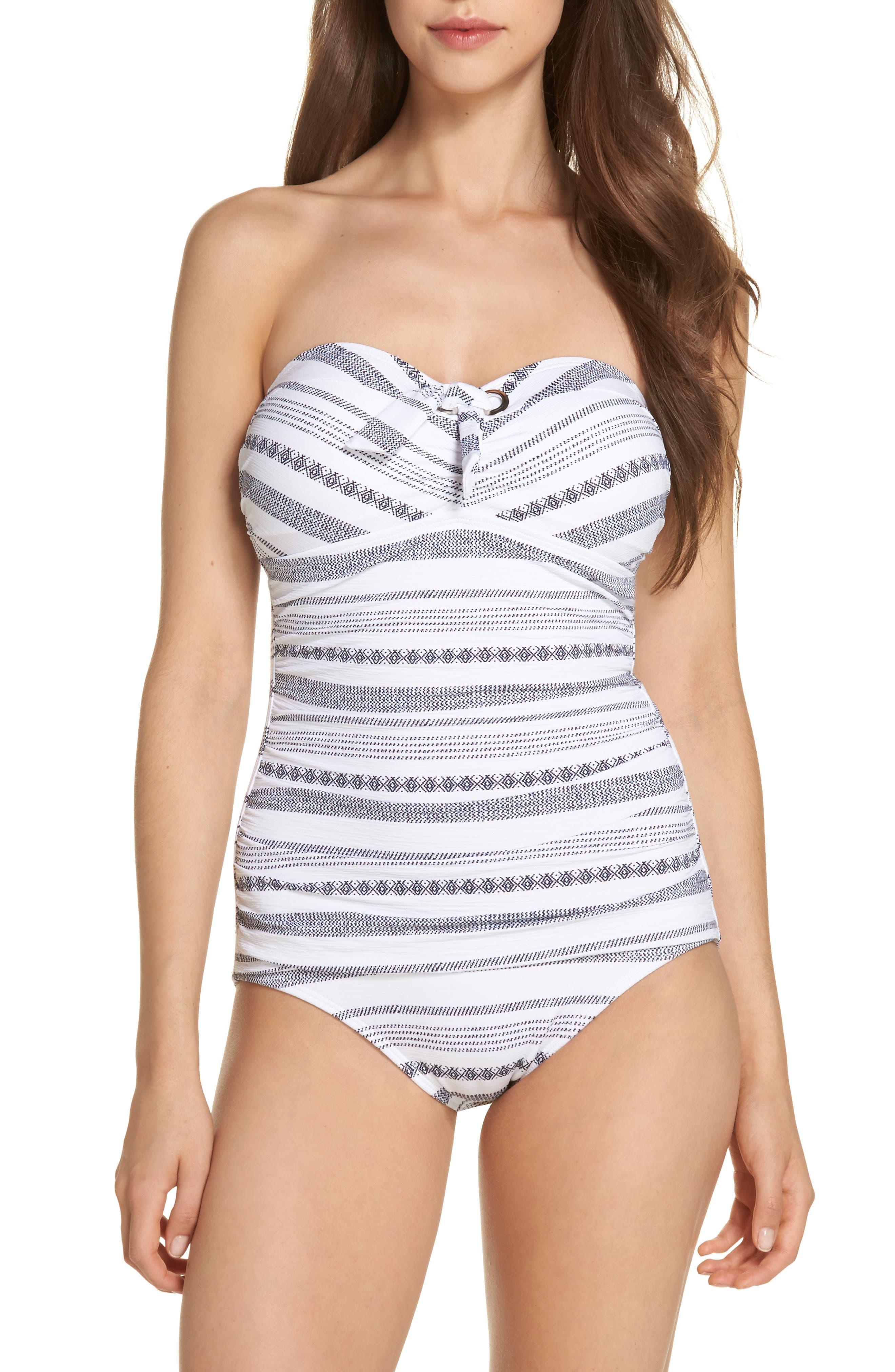 TOMMY BAHAMA Sand Bar Stripe Shirred Bandeau One-Piece Swimsuit, Main, color, 100