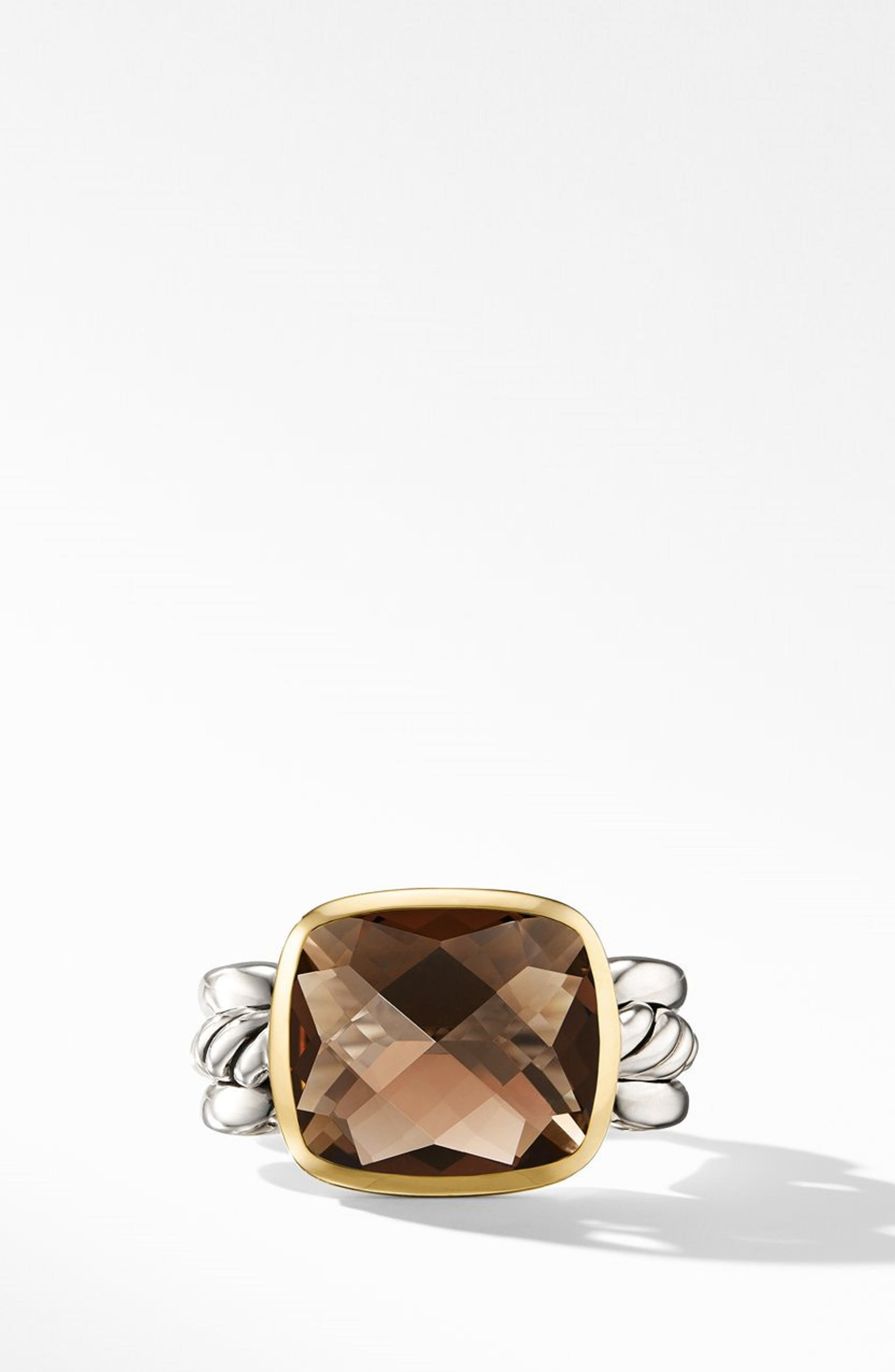 Wellesley Link Statement Ring with 18K Gold,                         Main,                         color, SILVER/ SMOKY QUARTZ