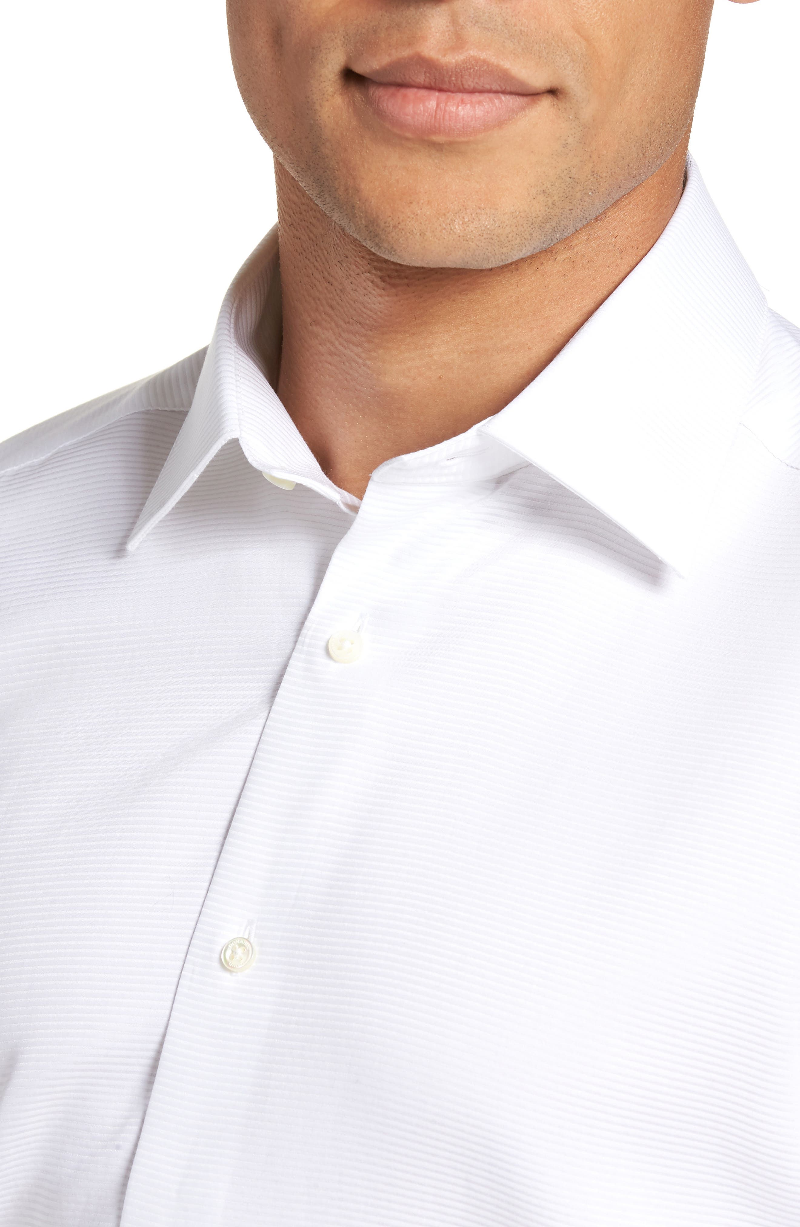 Trim Fit Twill French Cuff Tuxedo Shirt,                             Alternate thumbnail 2, color,                             SOLID WHITE