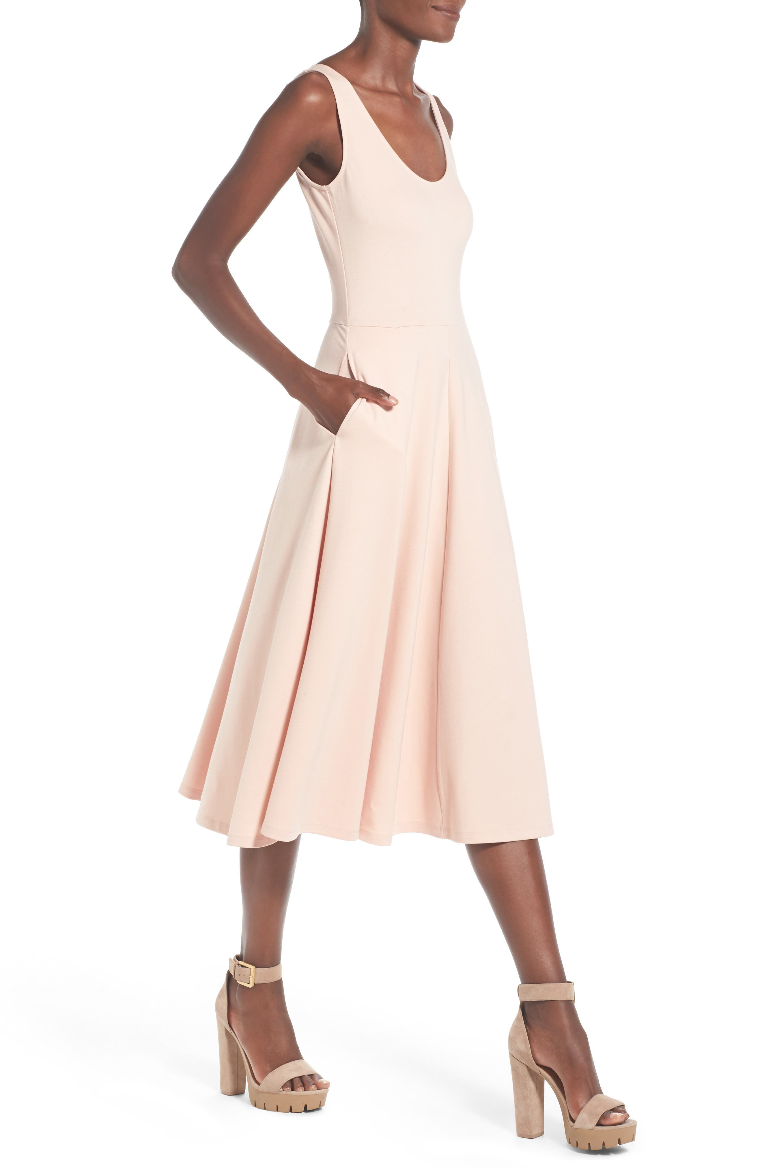 Stretch Knit Midi Dress,                             Alternate thumbnail 54, color,
