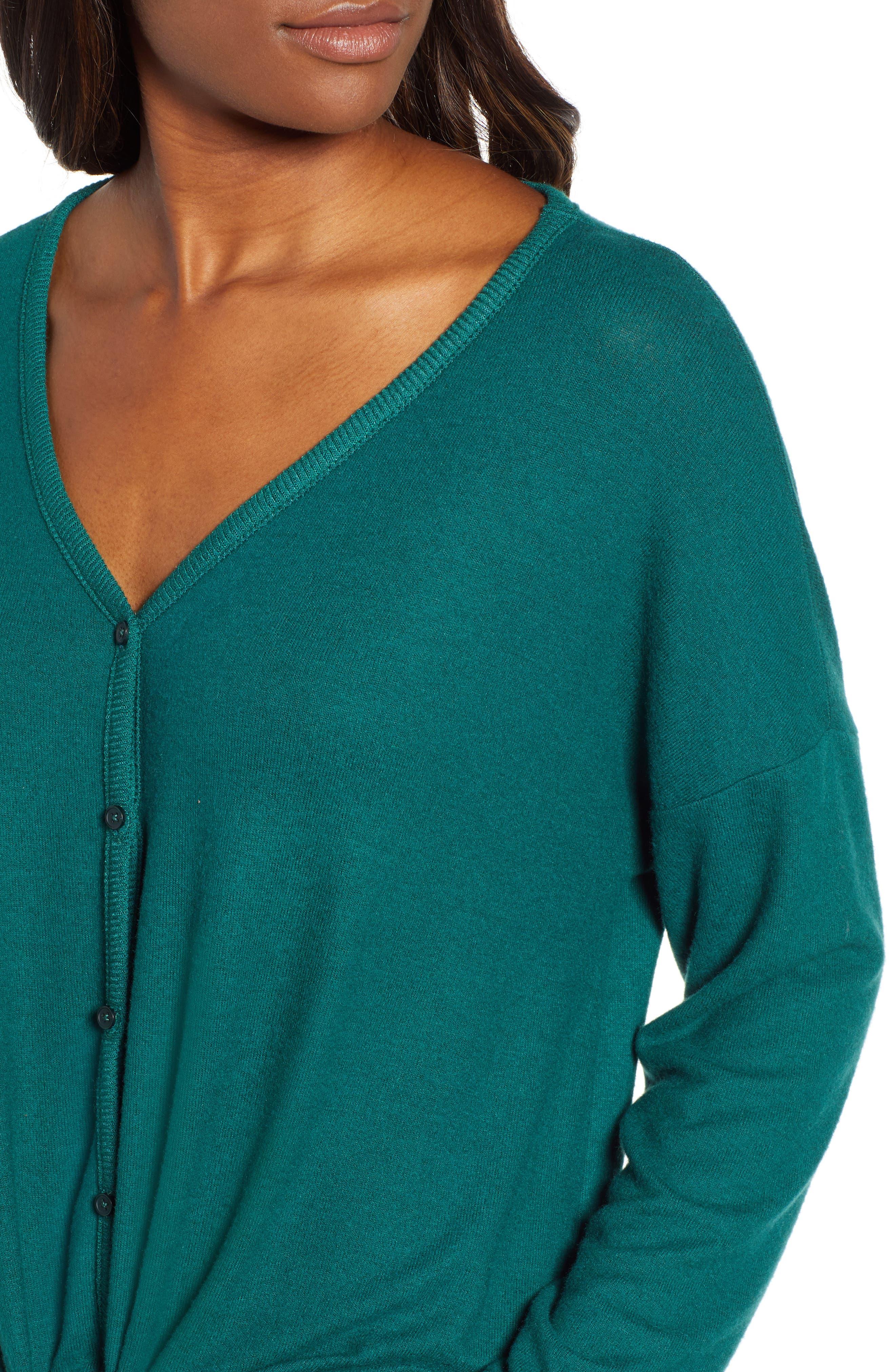 Tie Front Cozy Knit Shirt,                             Alternate thumbnail 4, color,                             301