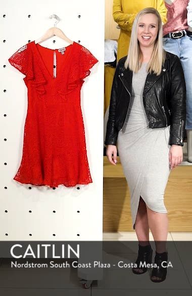 Ruffle Sleeve Lace Fit & Flare Dress, sales video thumbnail