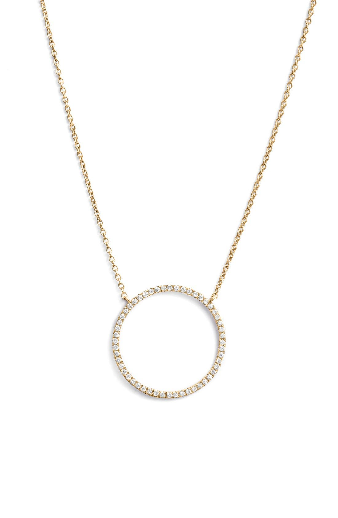 Simple Obsessions Circle Pendant Necklace,                             Main thumbnail 1, color,                             YELLOW GOLD