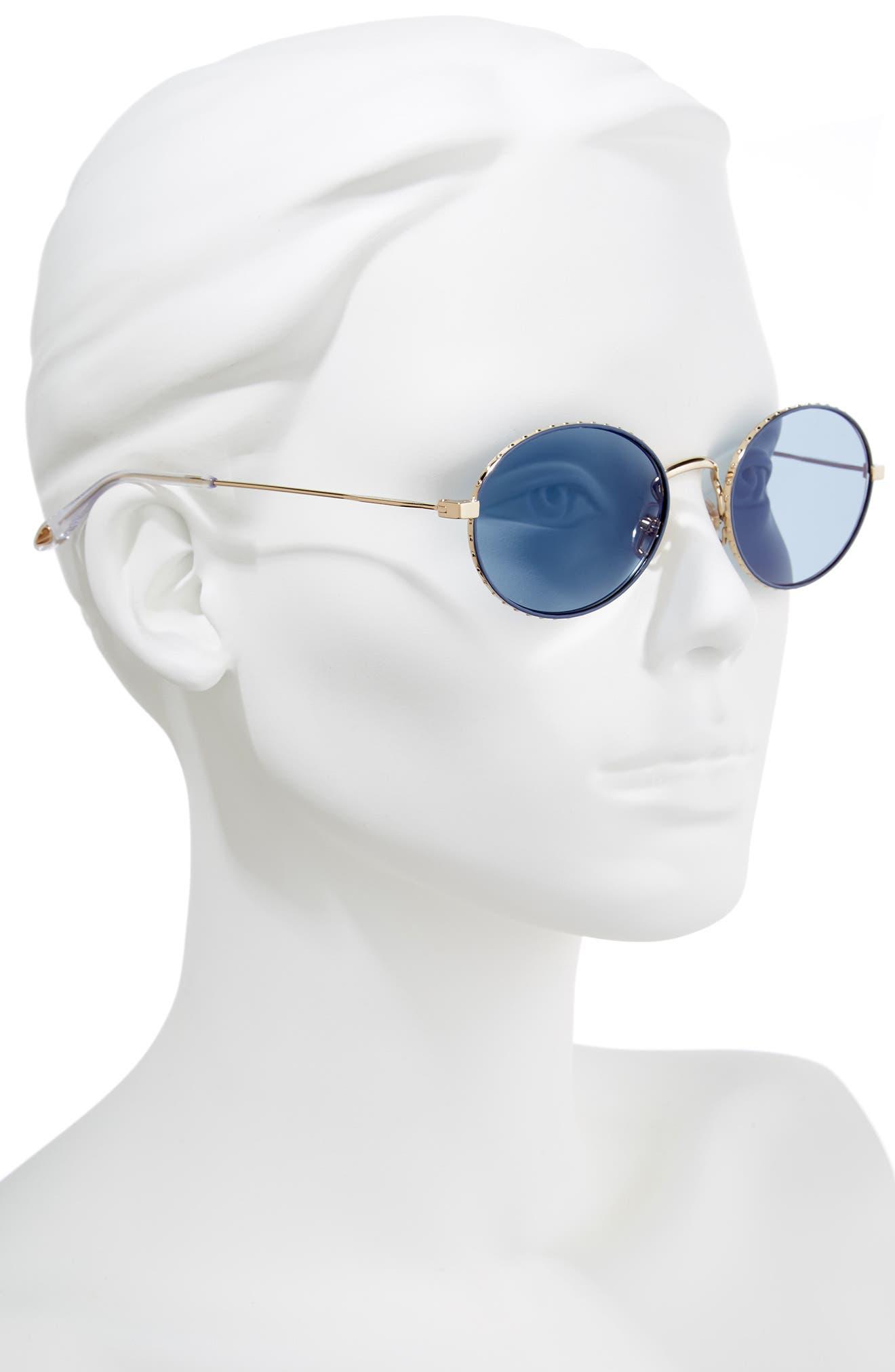 53mm Oval Sunglasses,                             Alternate thumbnail 2, color,                             GOLD/ BLUE