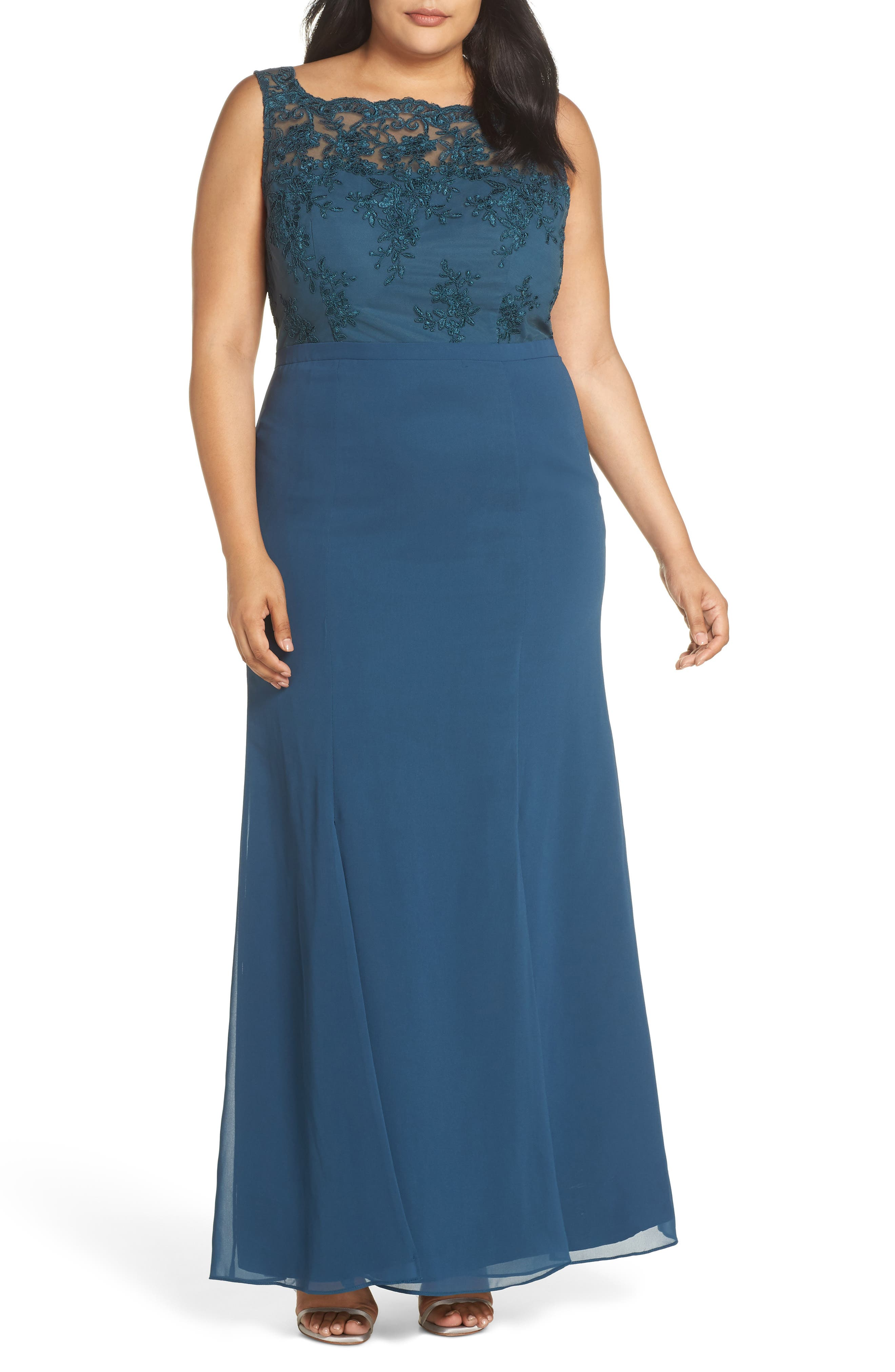 Embroidered Gown,                             Main thumbnail 1, color,                             GREEN