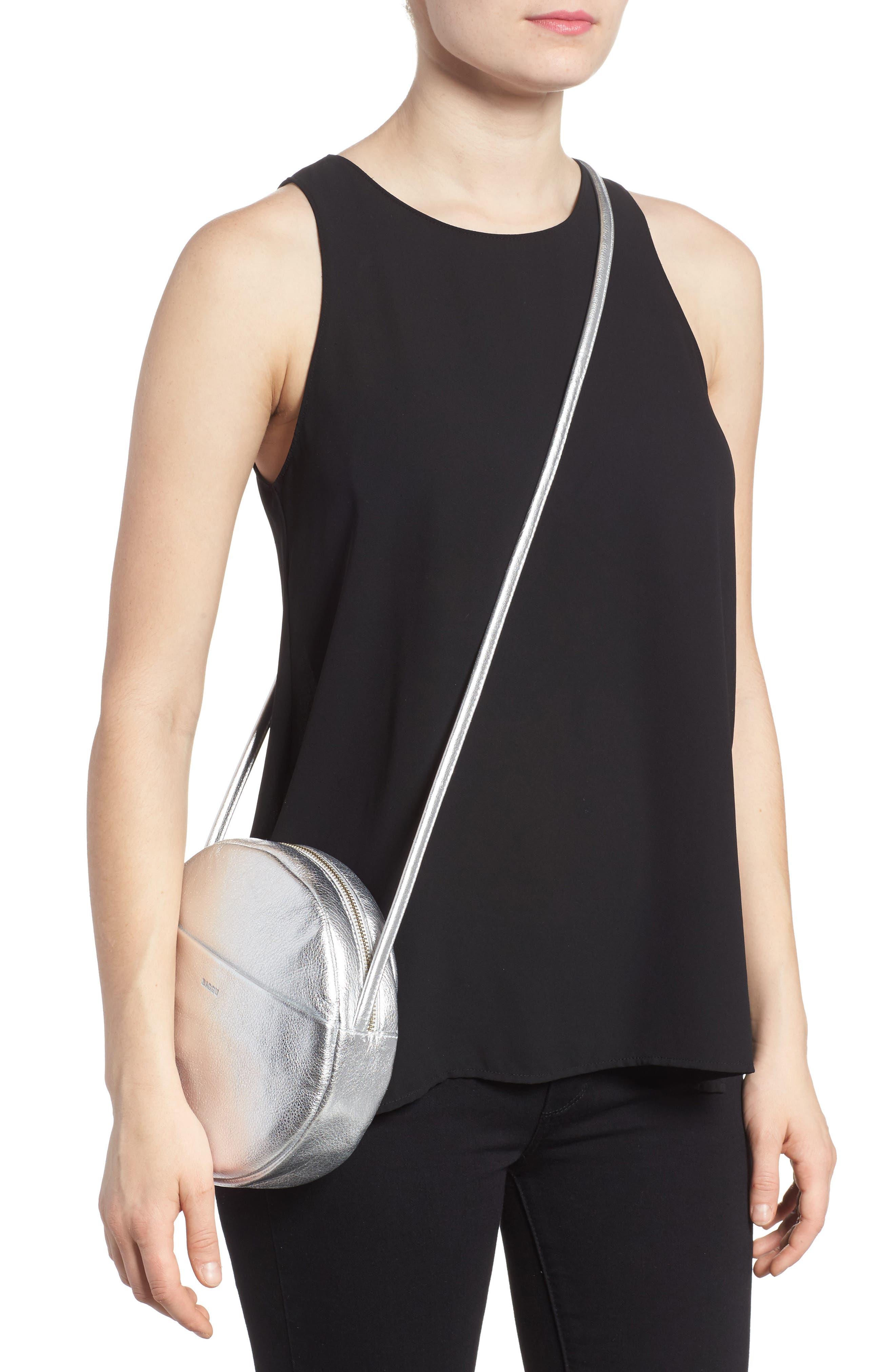 Circle Calfskin Leather Crossbody Bag,                             Alternate thumbnail 5, color,