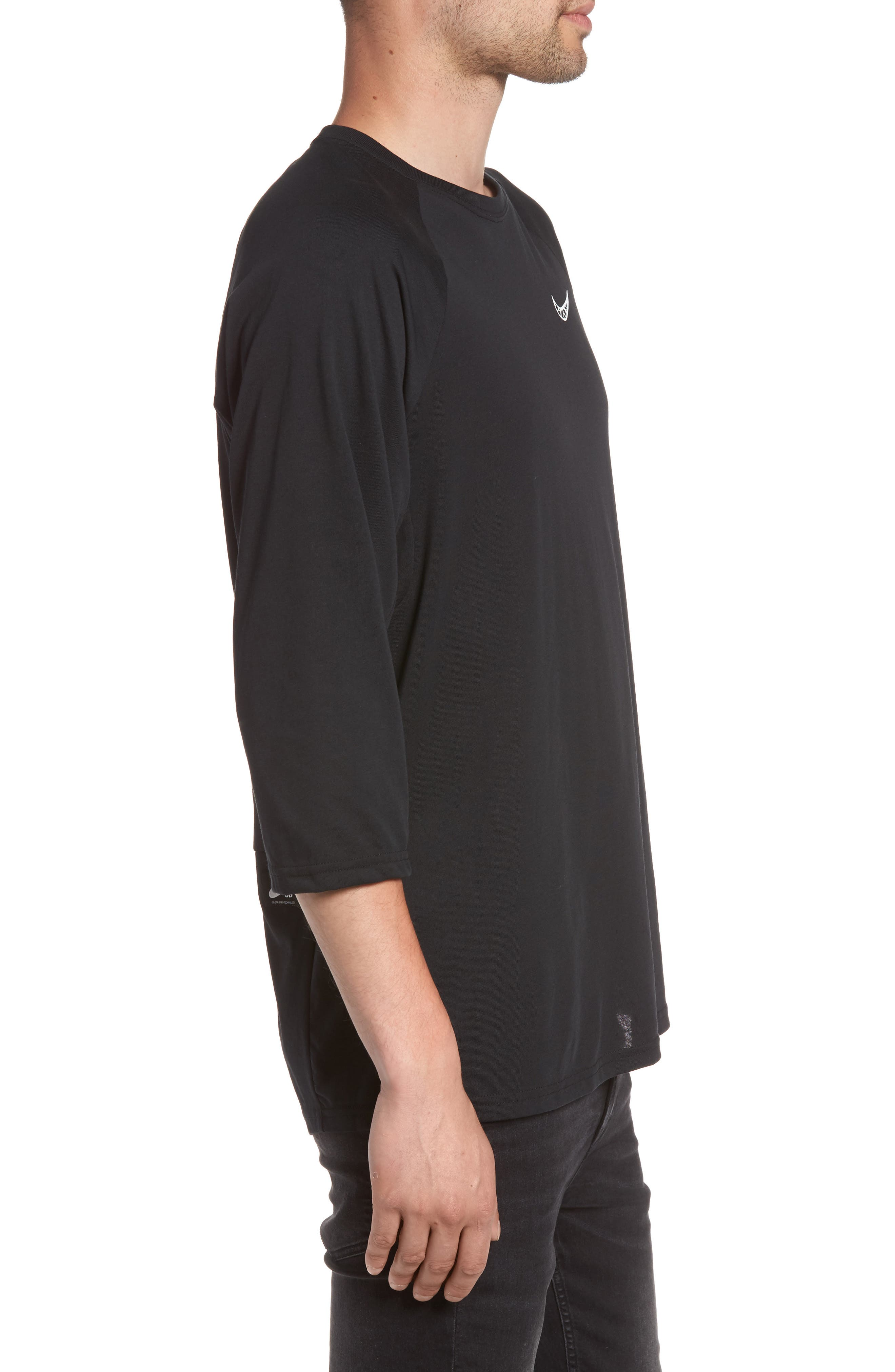 Dry Baseball T-Shirt,                             Alternate thumbnail 3, color,                             BLACK/ BLACK/ WHITE