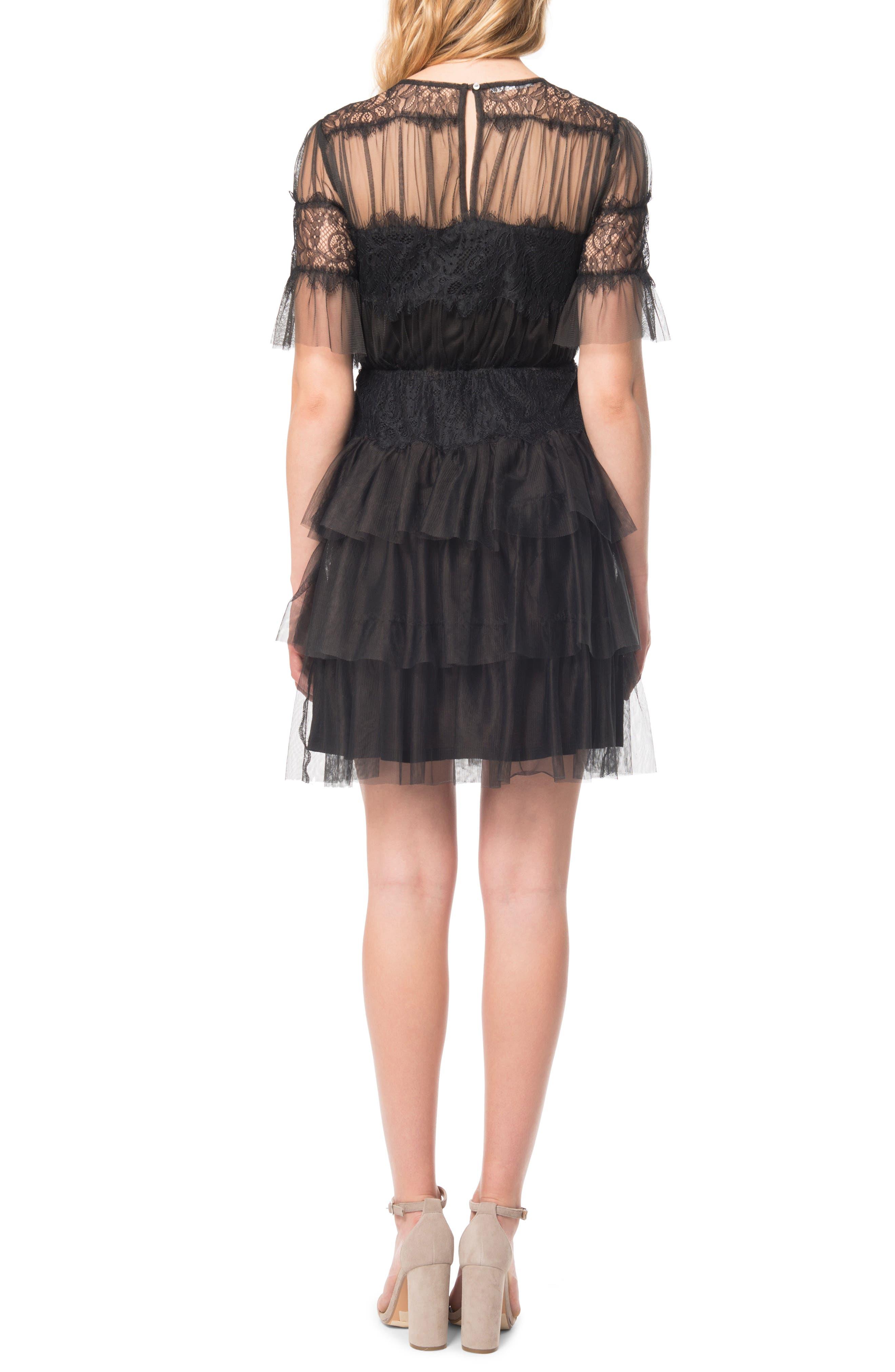 Ruffle Tulle Dress,                             Alternate thumbnail 2, color,                             001