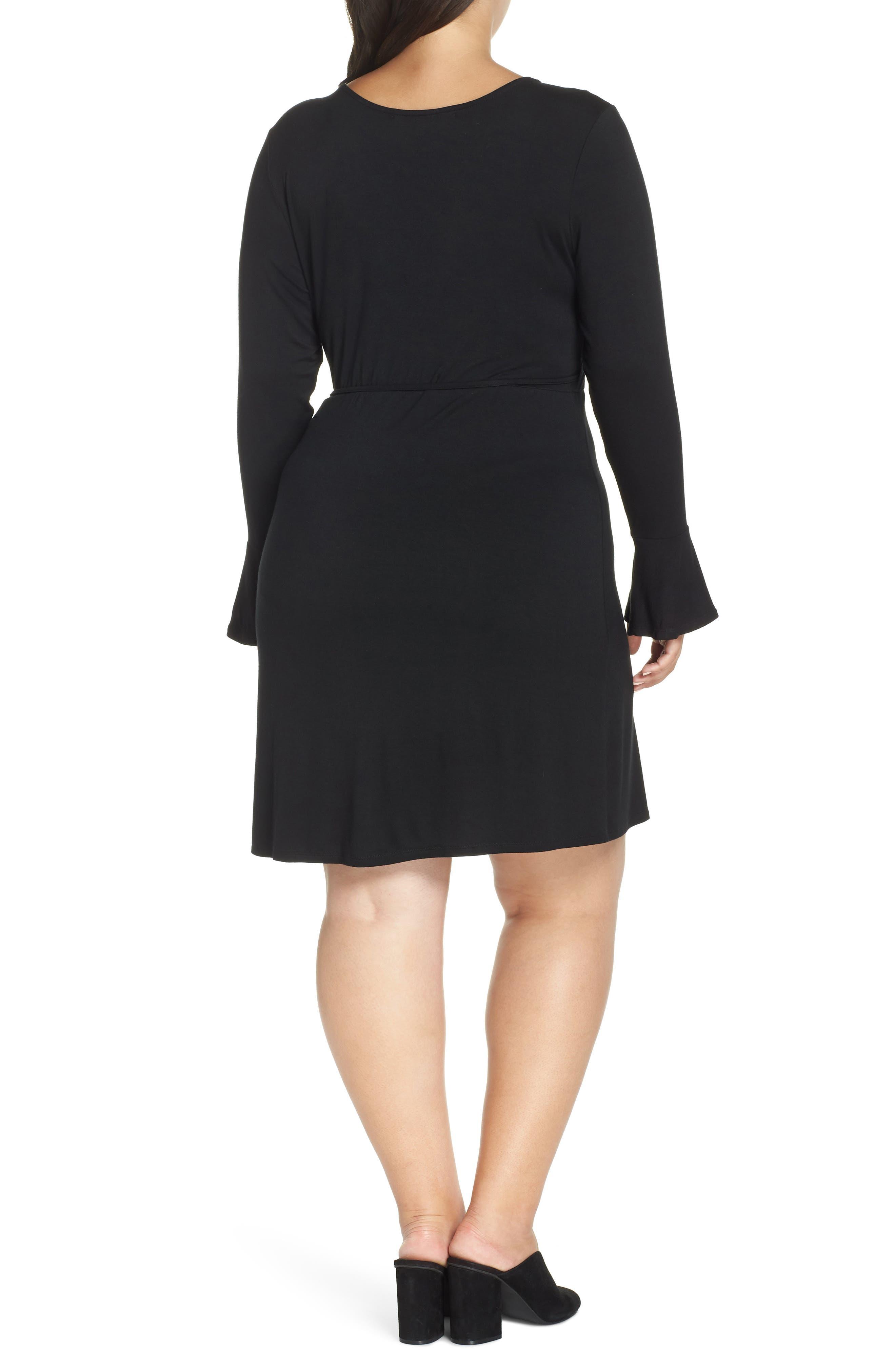 Casey Faux Wrap Dress,                             Alternate thumbnail 2, color,                             BLACK