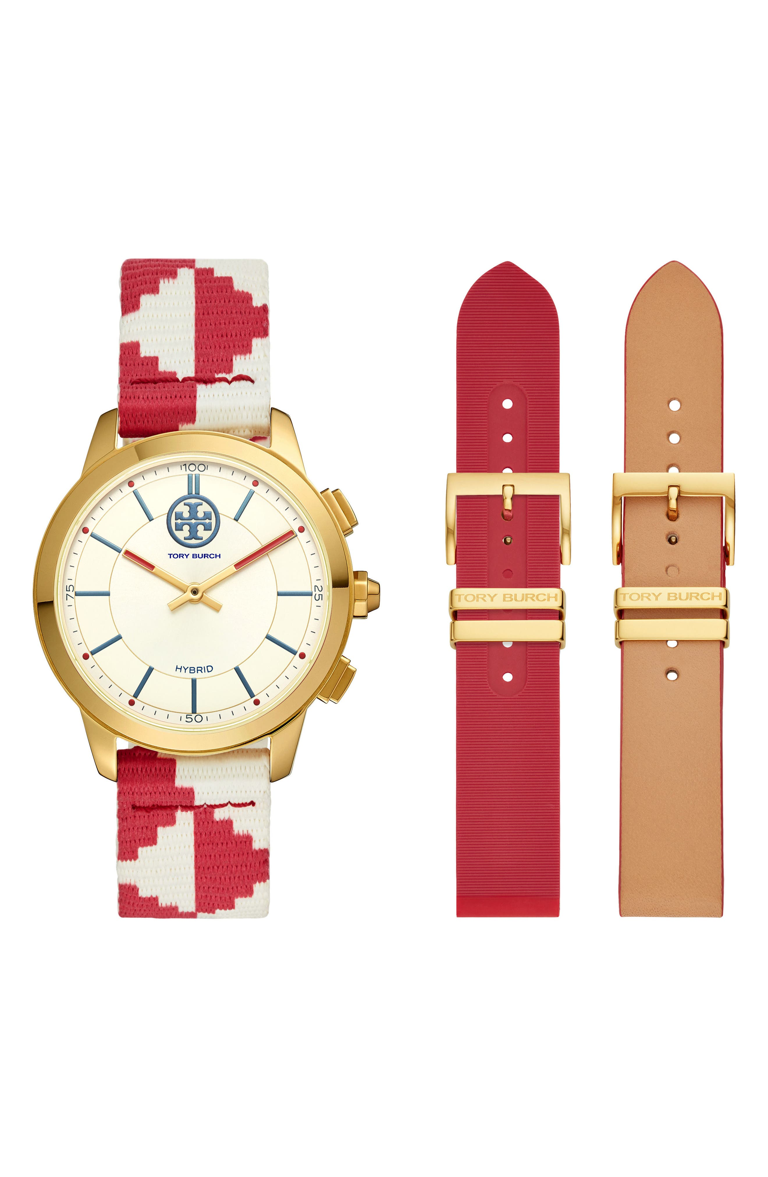 The Collins Hybrid Woven Strap Smart Watch Set, 38mm,                         Main,                         color, RED/ BEIGE/ GOLD