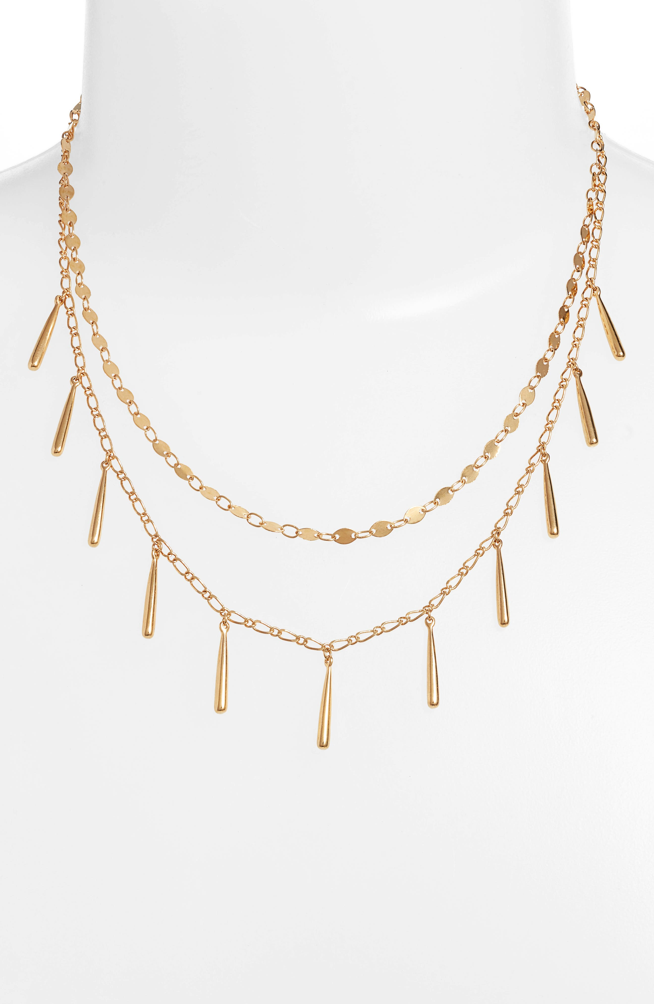 Teardrop Double Layer Necklace,                             Alternate thumbnail 2, color,                             GOLD