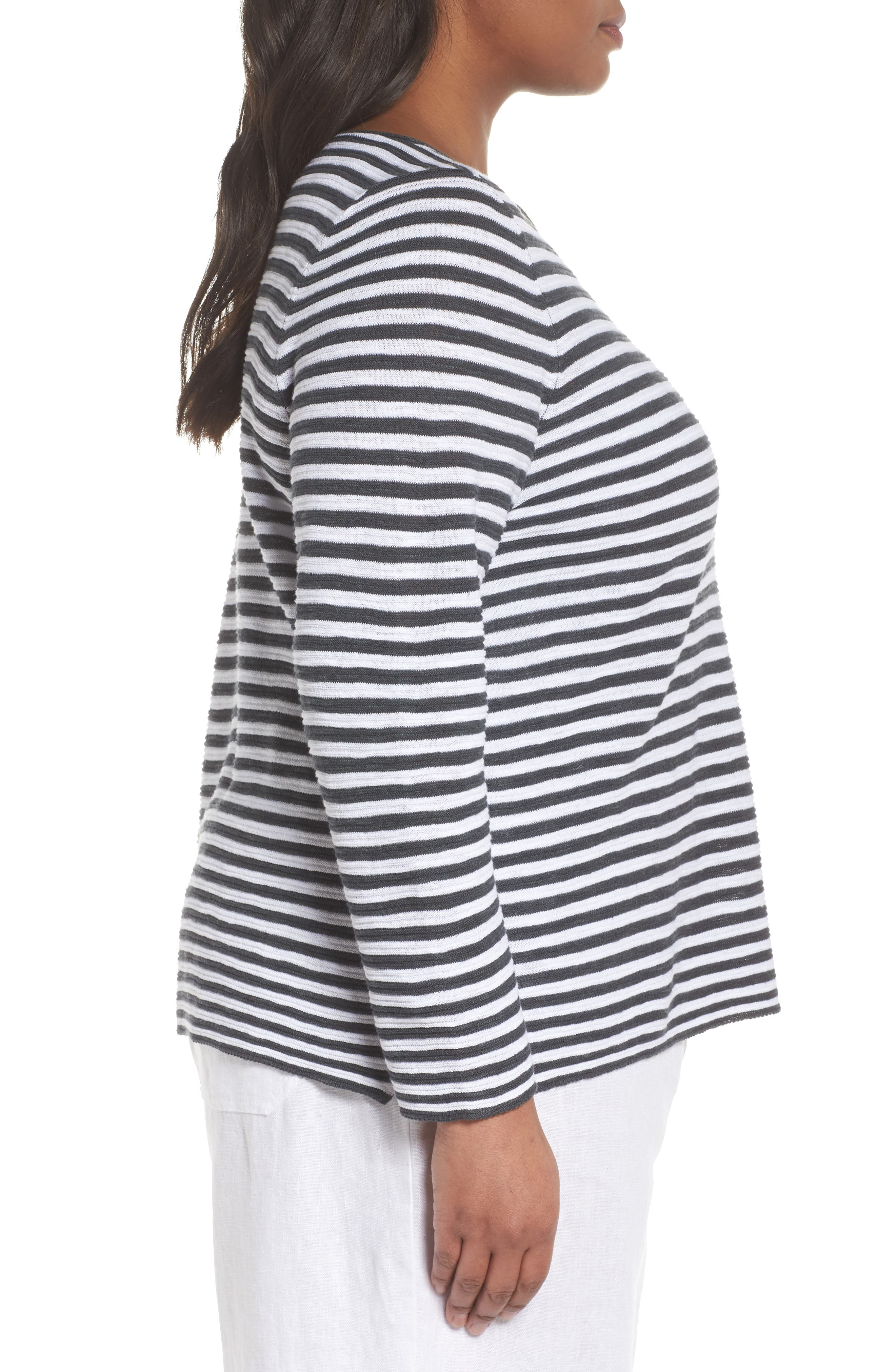 Stripe Organic Linen & Cotton Sweater,                             Alternate thumbnail 3, color,