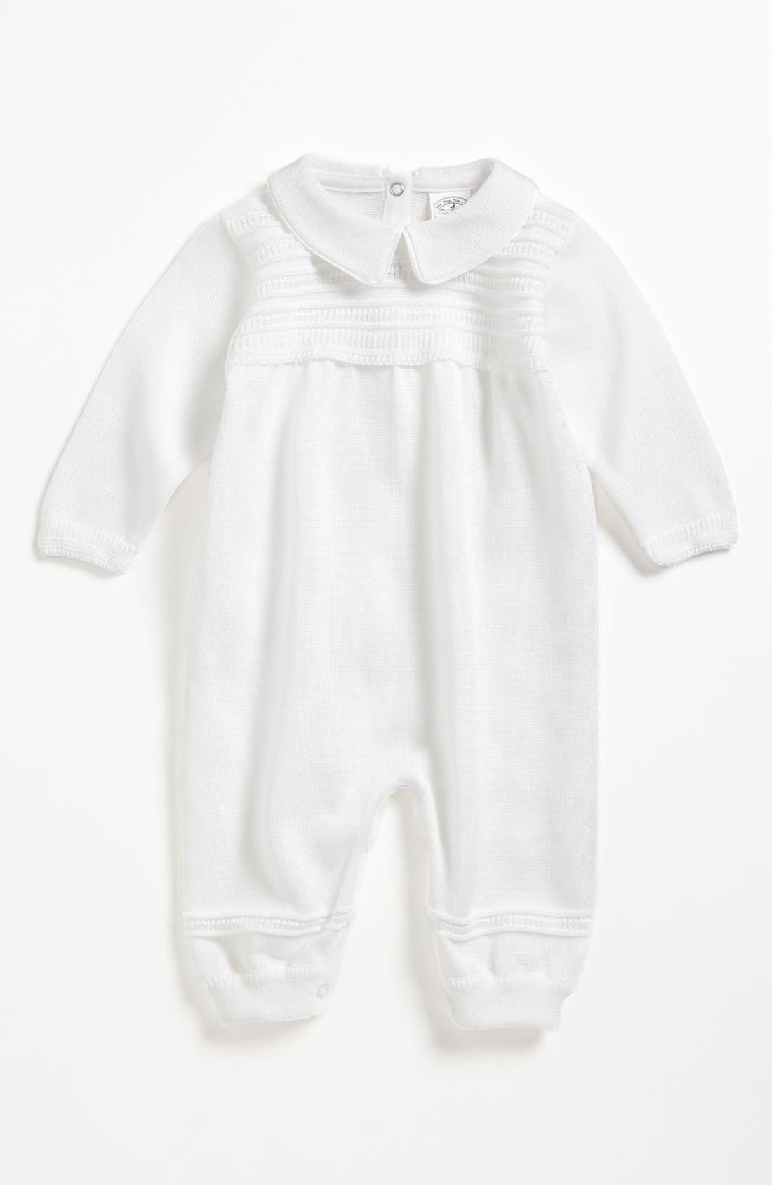 Knit Romper,                         Main,                         color, WHITE