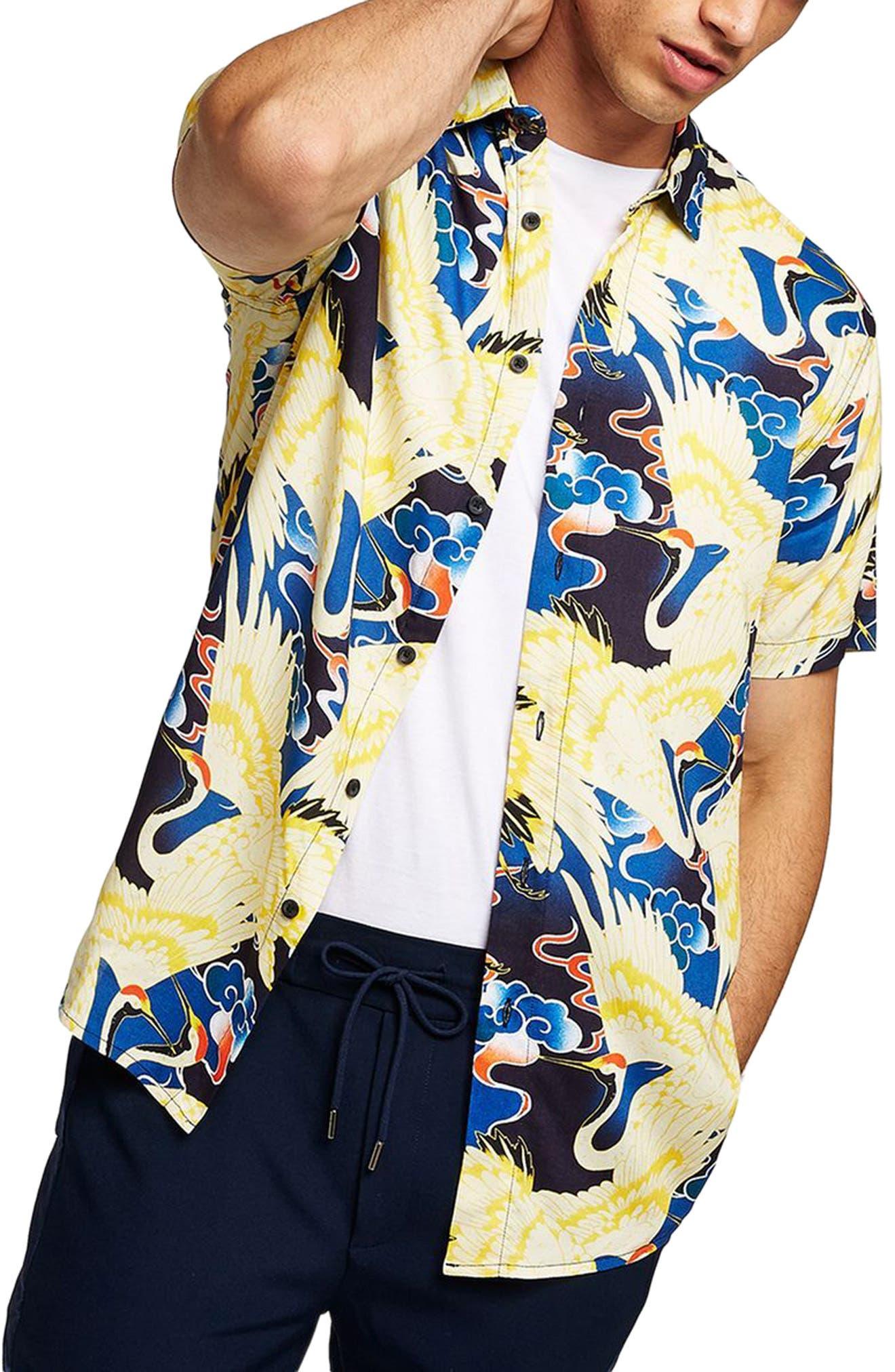 Crane Print Woven Shirt,                             Main thumbnail 1, color,                             YELLOW MULTI