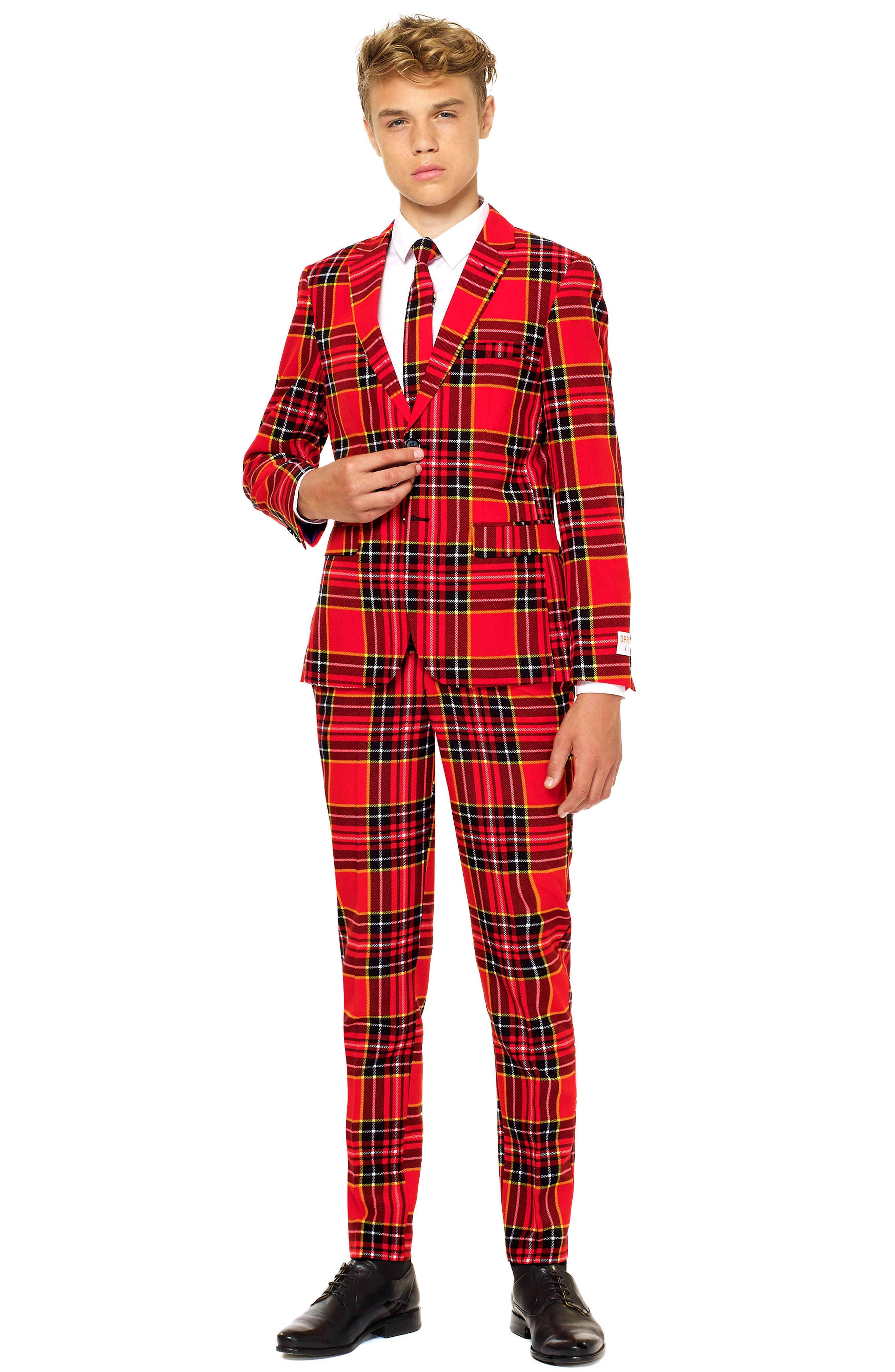 Lumberjack Two-Piece Suit with Tie,                             Main thumbnail 1, color,                             RED