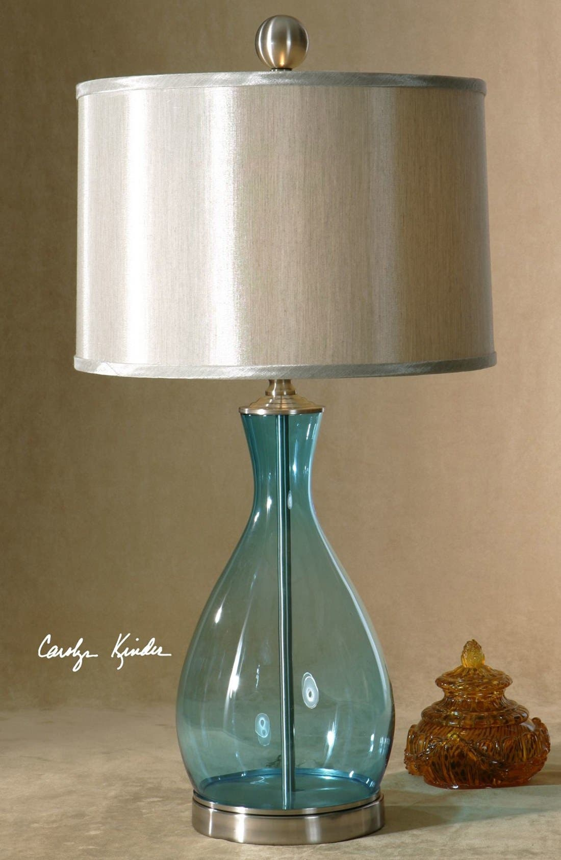 'Meena' Blue Blown Glass Table Lamp,                             Alternate thumbnail 2, color,                             BLUE