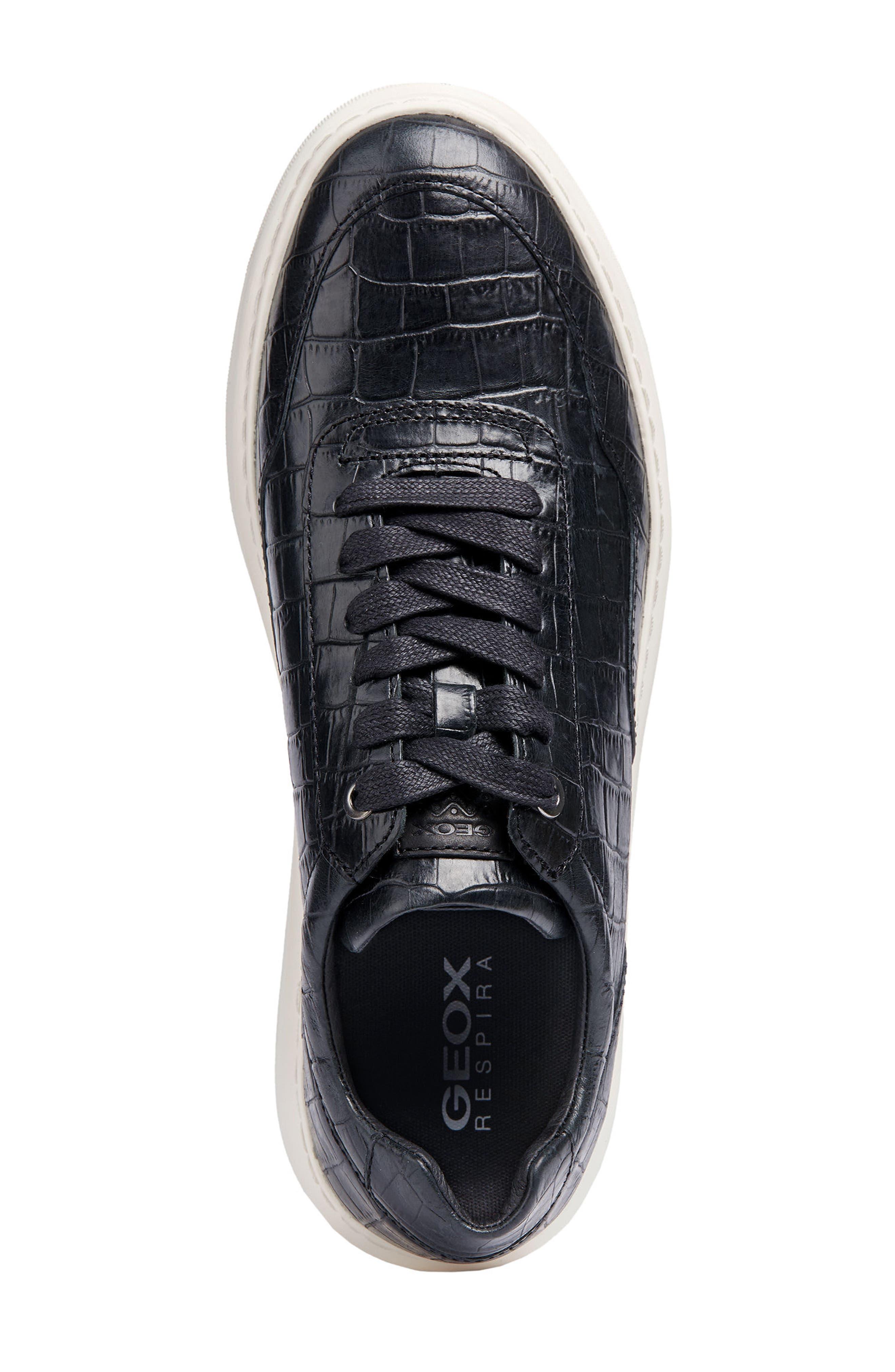 Deiven 8 Croc Textured Low Top Sneaker,                             Alternate thumbnail 5, color,                             BLACK LEATHER