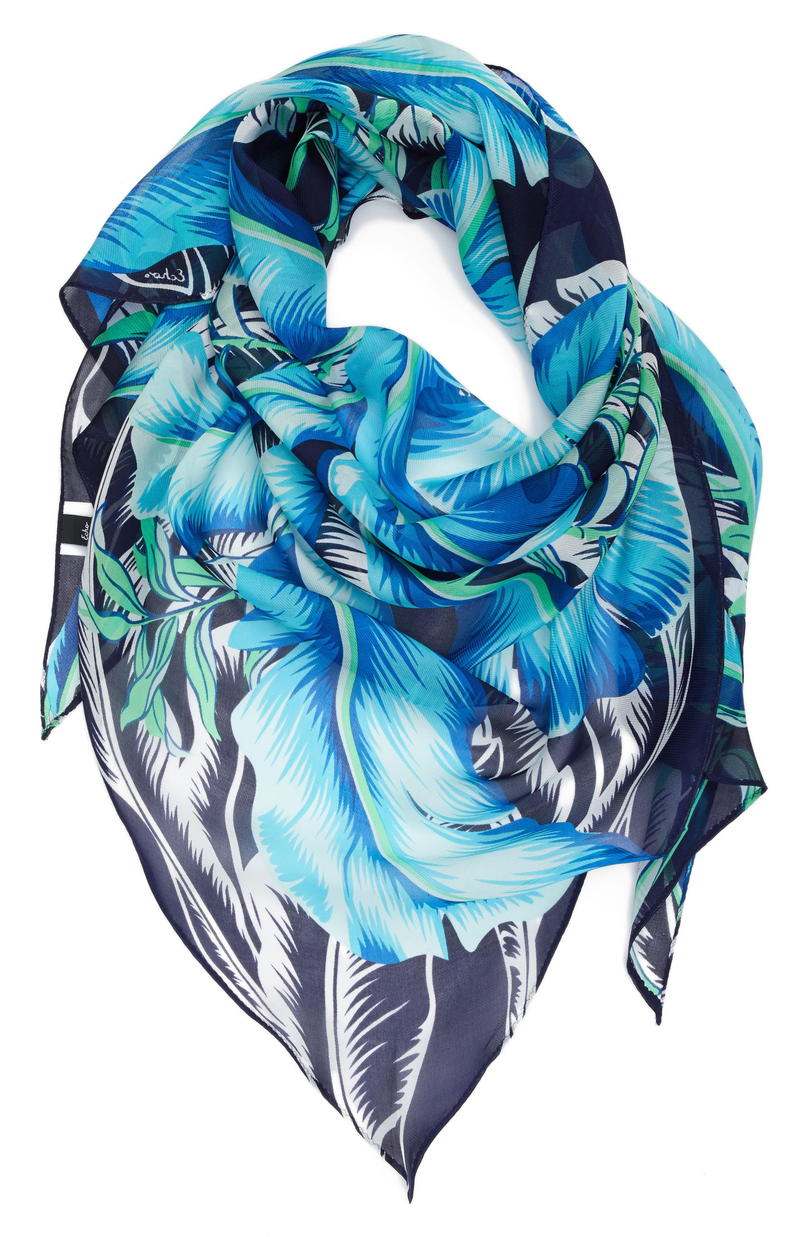 Palm Print Silk Triangle Scarf,                             Alternate thumbnail 2, color,                             400