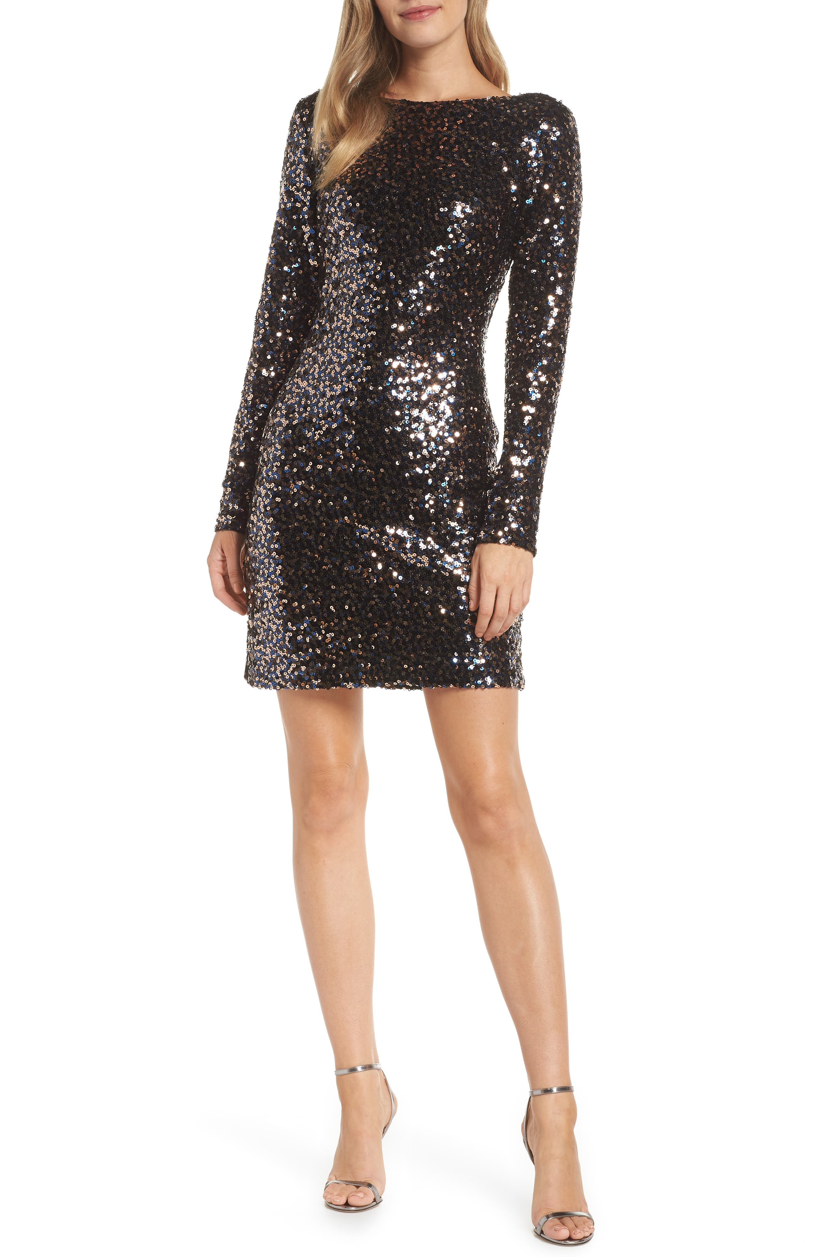 Petite Eliza J Bateau Neck Sequin Sheath Dress, Black