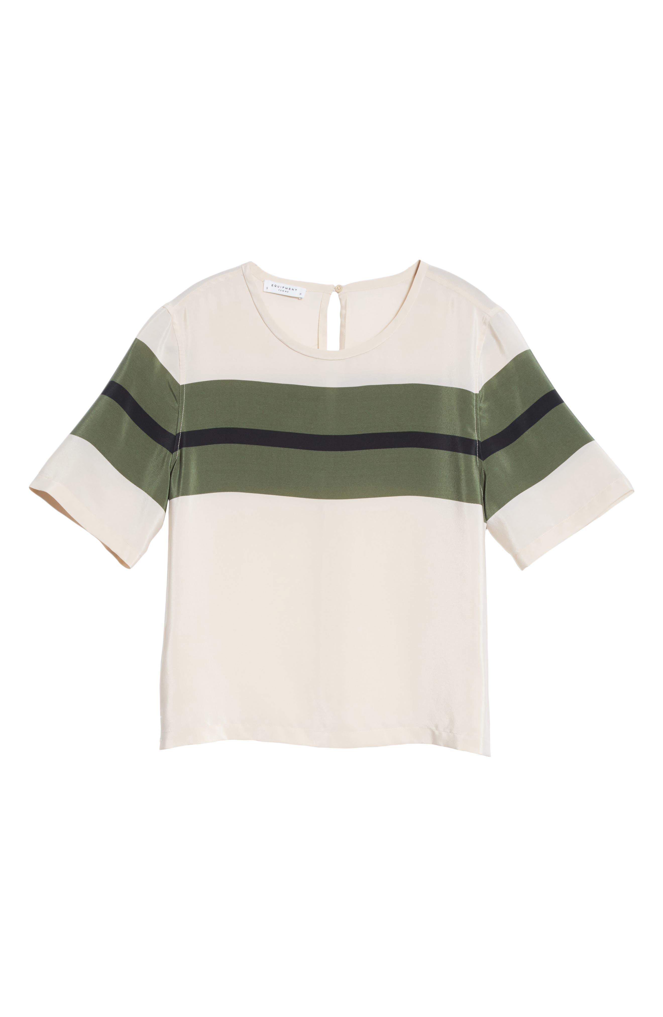 EQUIPMENT,                             Brynn Stripe Silk Tee,                             Alternate thumbnail 6, color,                             103